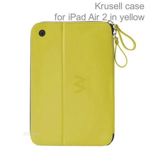 Krusell velvet look Tablet Flip Case Cover | Water Splash Proof | iPad Air 2-Yellow | New Thumbnail 1