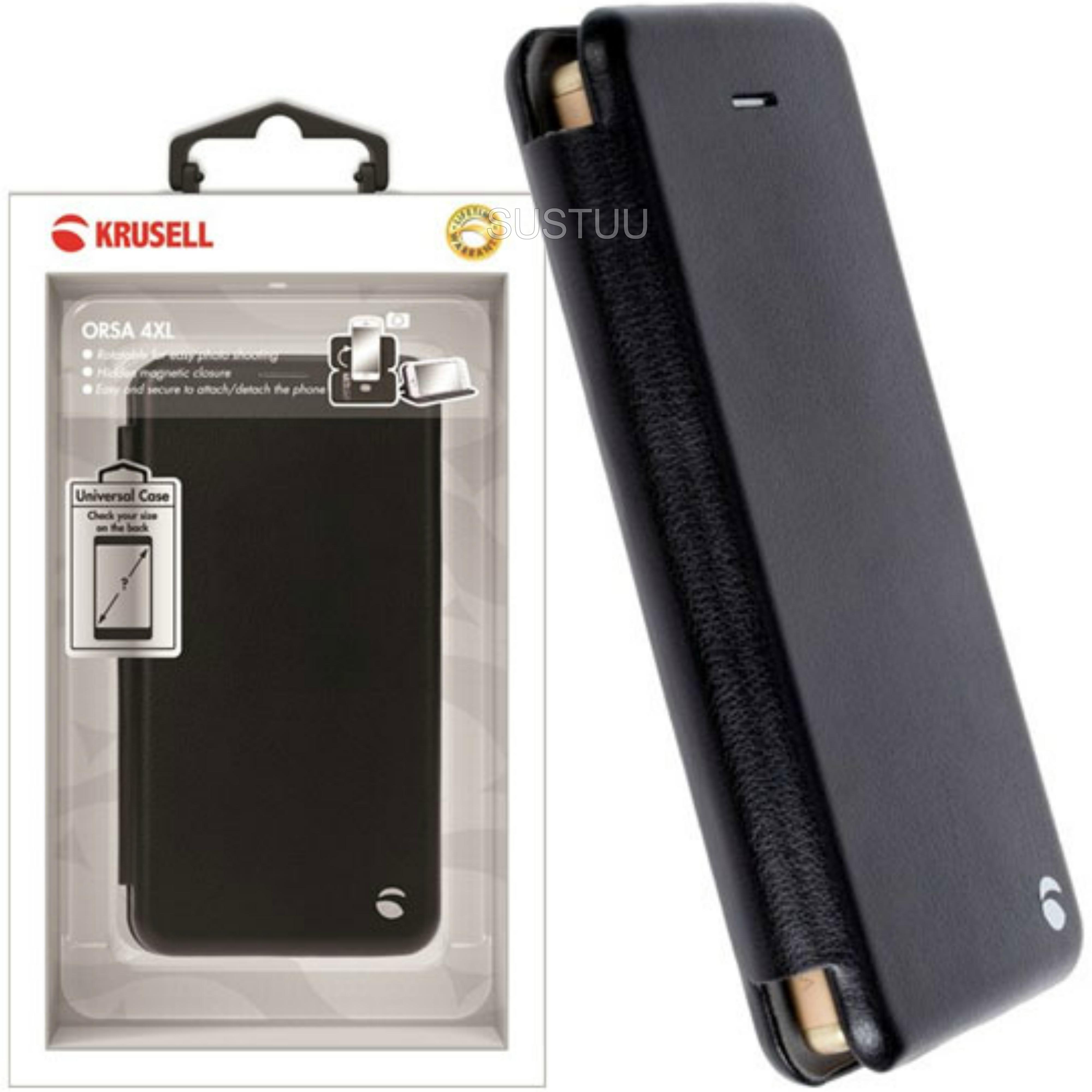 Krusell Orsa Folio Flip Case | Premium Leather Cover | Universal 4XL | SmartPhone | Black