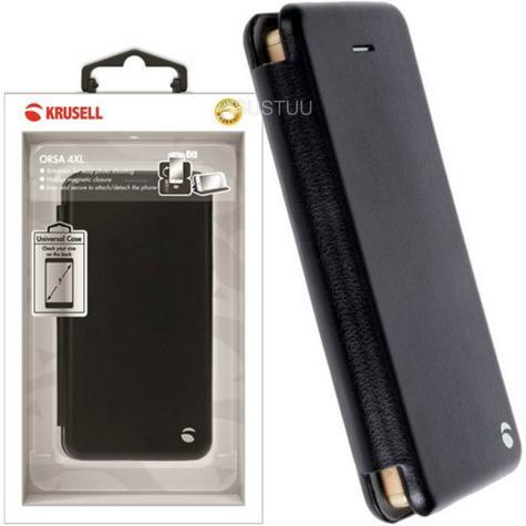 Krusell Orsa Folio Flip Case | Premium Leather Cover | Universal 4XL | SmartPhone | Black Thumbnail 1