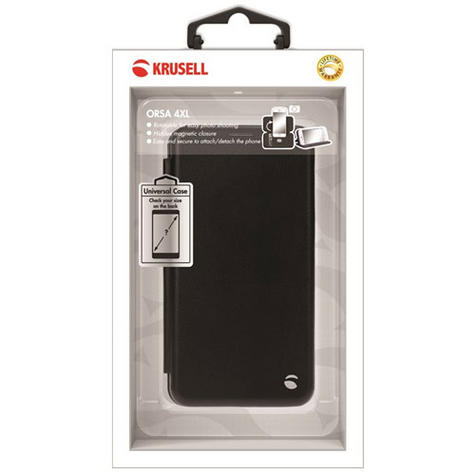 Krusell Orsa Folio Flip Case | Premium Leather Cover | Universal 4XL | SmartPhone | Black Thumbnail 7