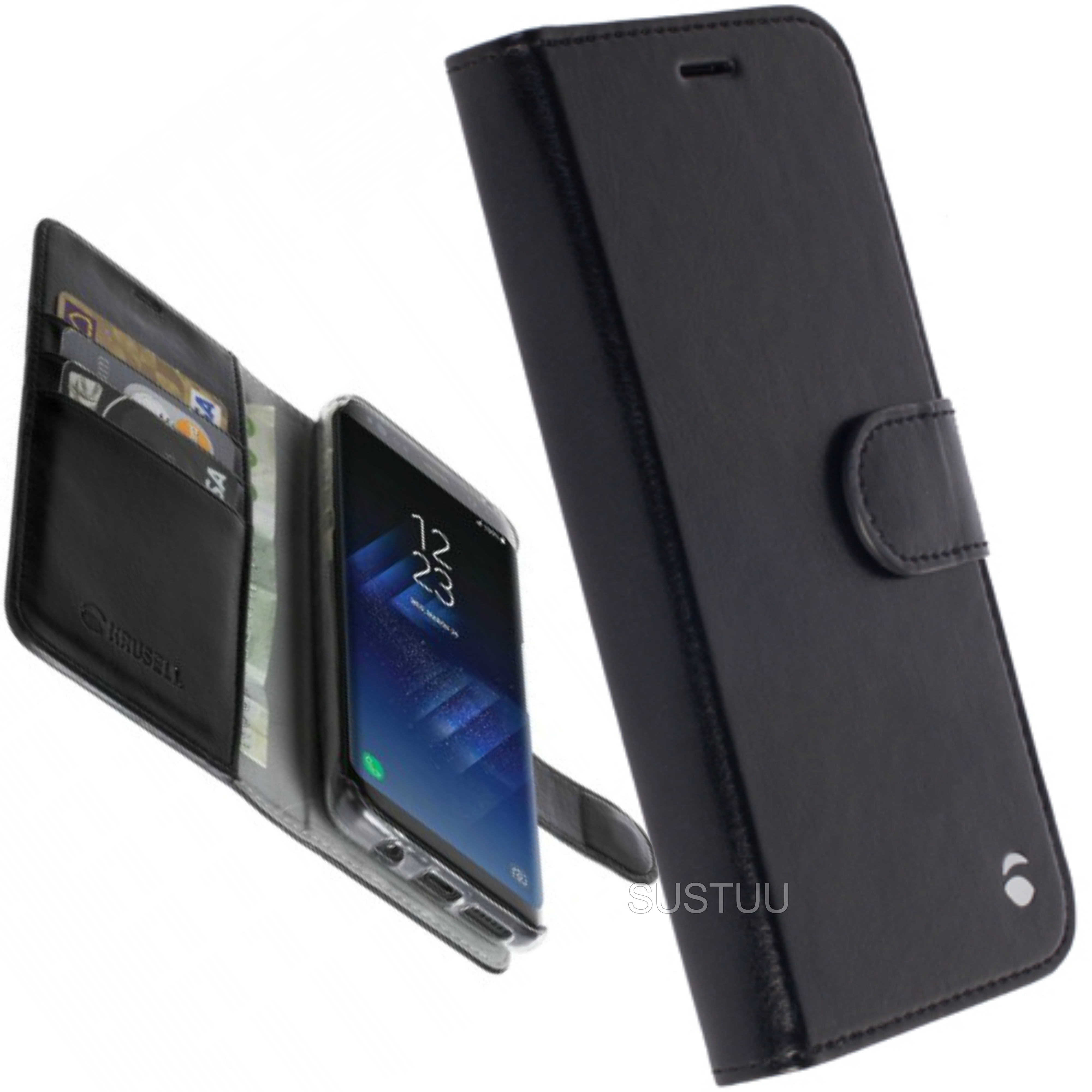 Krusell Ekero FolioWallet+Flip Case | Slim Protective Cover | For Samsung Galaxy S8 Plus
