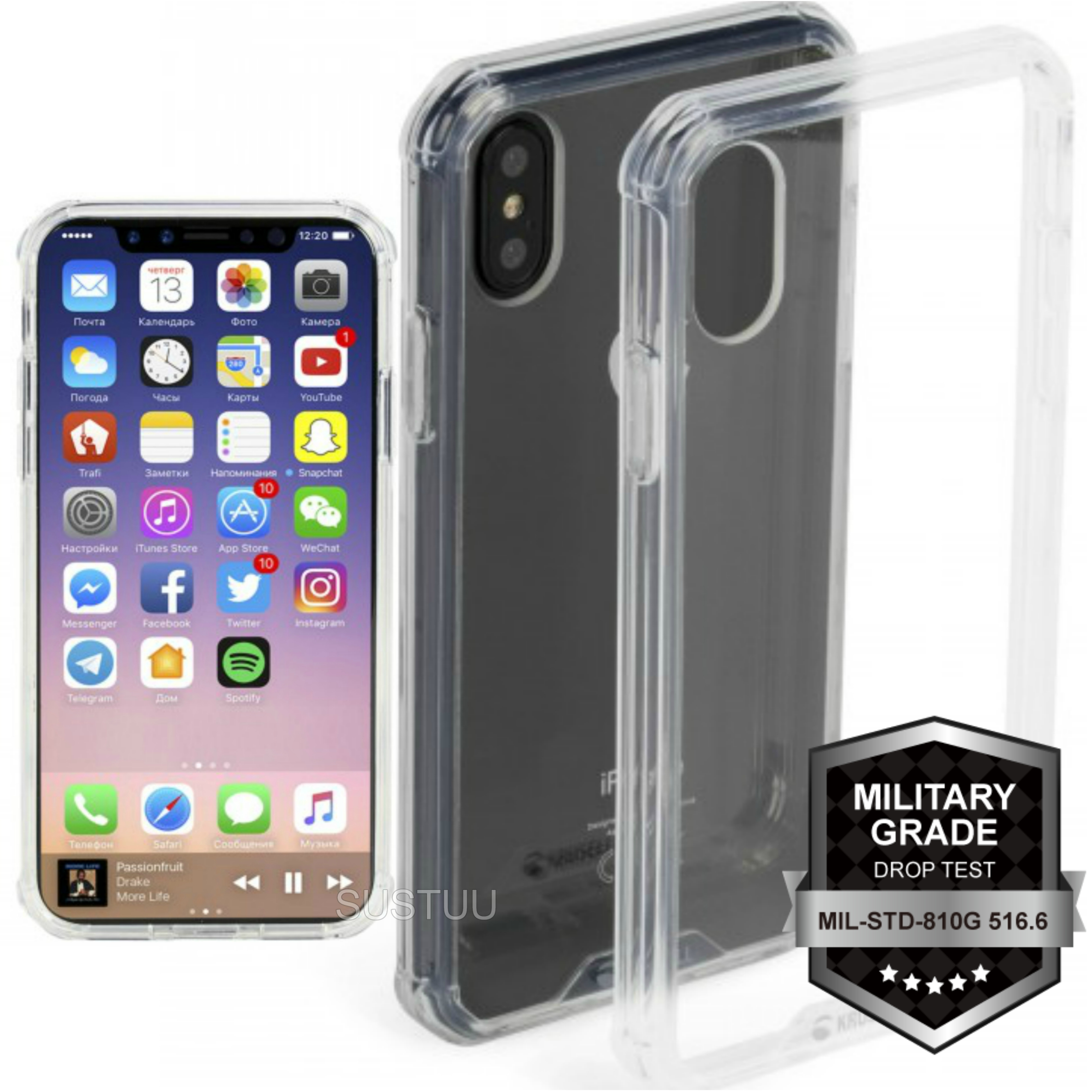 Krusell Kivik Pro Transparent Back Case | Protective Slim Clear Cover | iPhone X-New