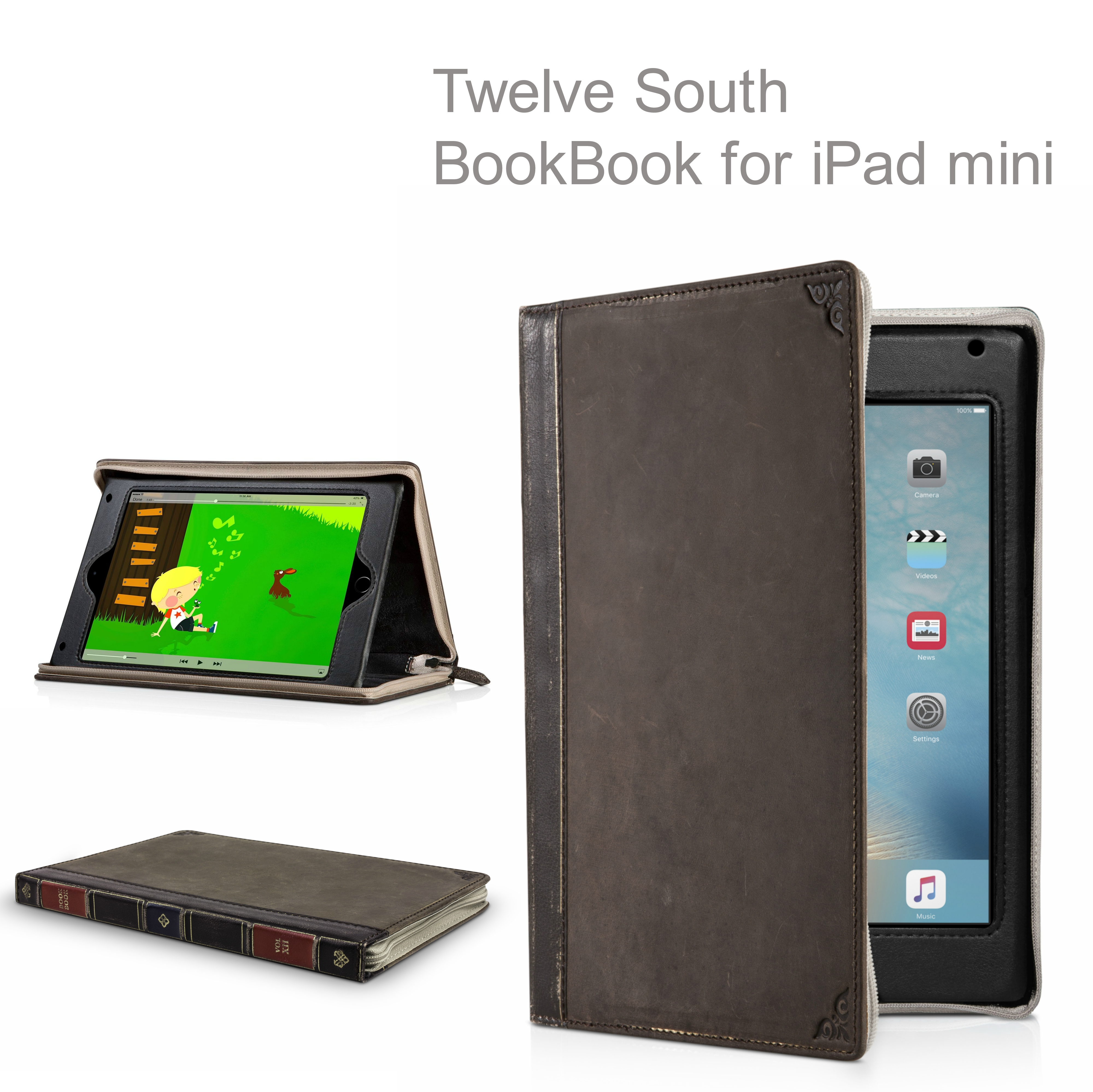 Twelve South 12-1518 BookBook|Leather Case|Handmade|for iPad Mini 2-3-4|- Brown