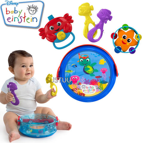 Baby Einstein Box Drum | Baby/Kids Musical Toy Set With Silly Sounds | x2 Fishes | New Thumbnail 1