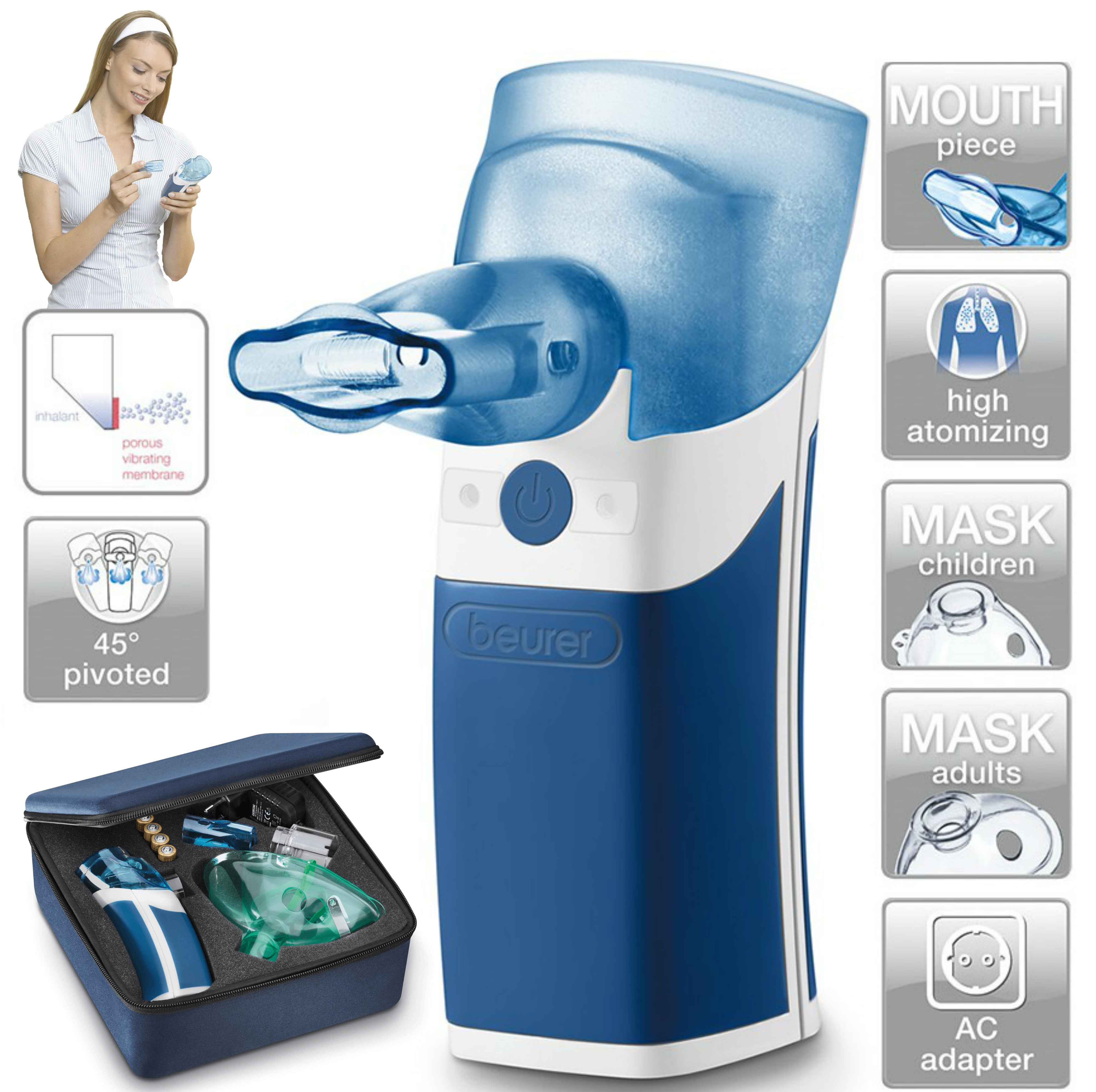 Beurer IH Portable Nebuliser For Cold/Asthma/Respirator Tract Ultrasonic Battery