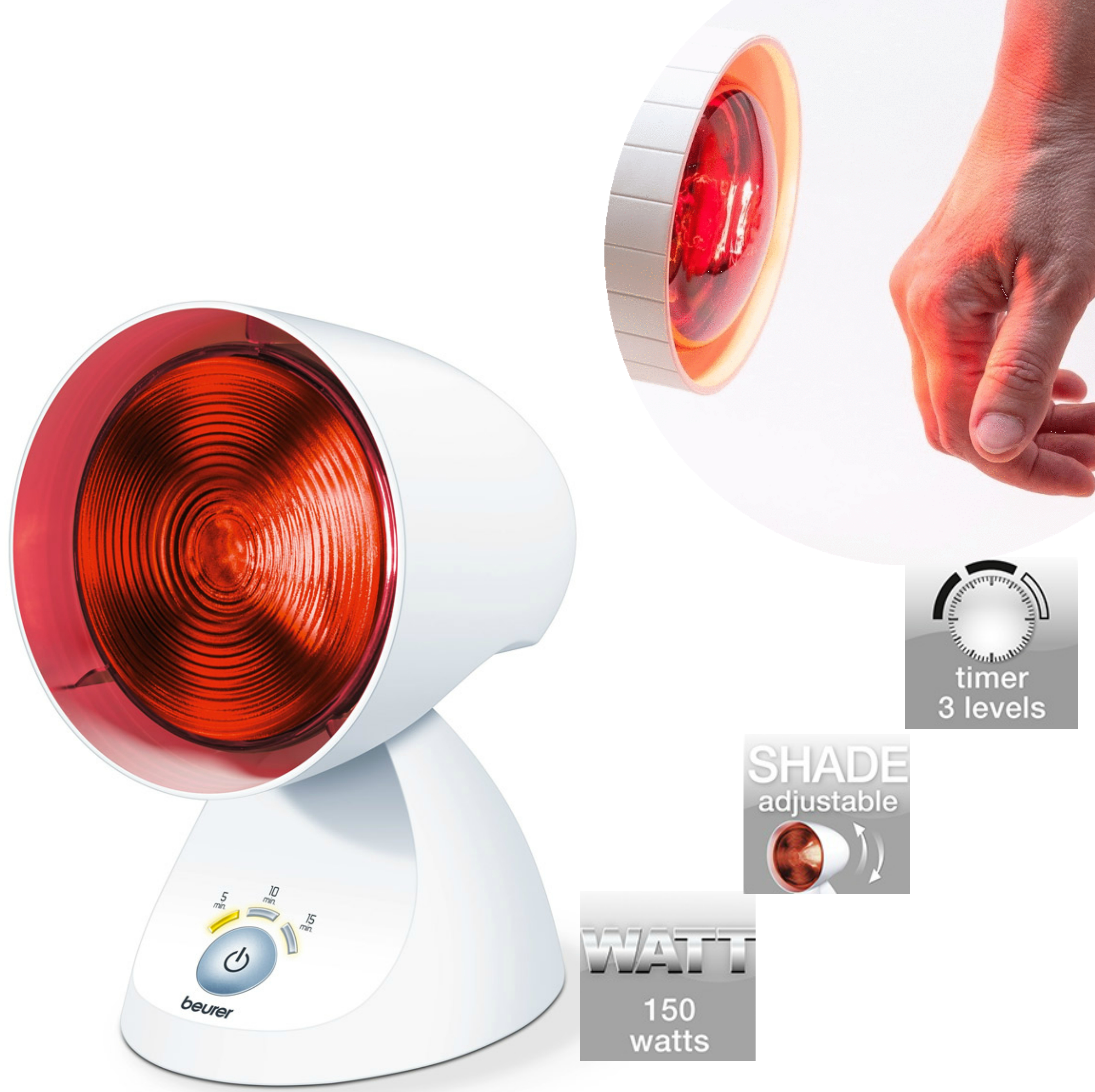 Beurer IL35 Infra Red Lamp|Colds Relief / Body Muscular Pain Therapy|Timer|150W|
