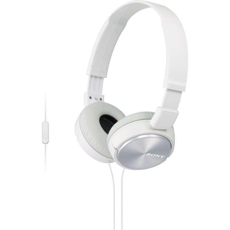 Sony MDRZX310APW Folding Stereo Headphones|Smartphone Mic Control|Metallic White