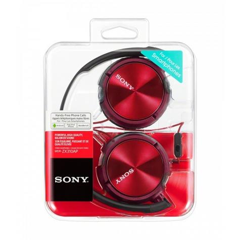 Sony MDRZX310APR Folding Stereo Headphones|Smartphone Mic Control|Metallic Red Thumbnail 4