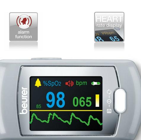 Beurer PO80 Pulse Oximeter|Arterial Oxygen Saturation|Heart Rate|Pain Free Count Thumbnail 5