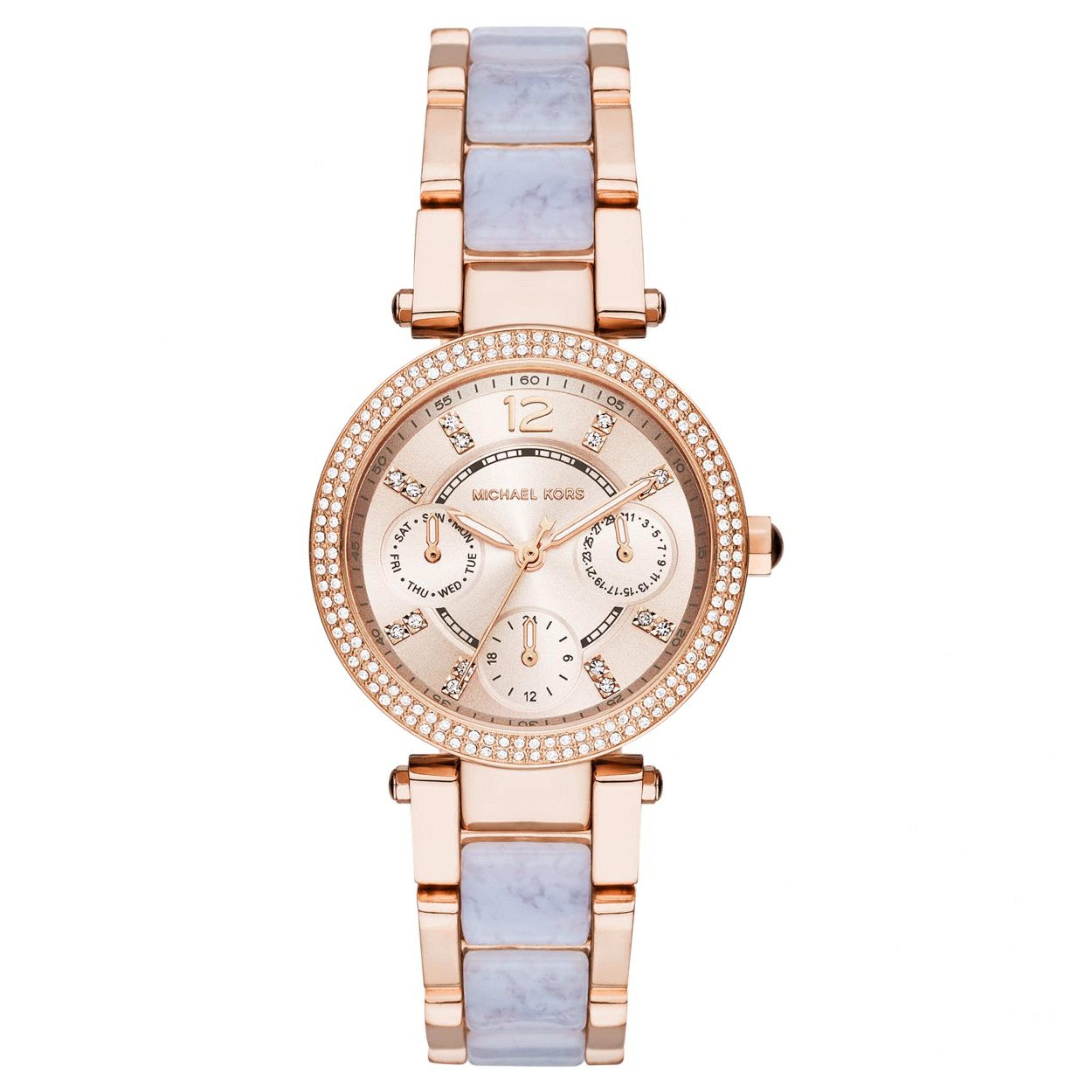 Michael Kors Mini Parker Ladies Watch|Chronograph Dial|Dual Tone Bracelet|MK6327