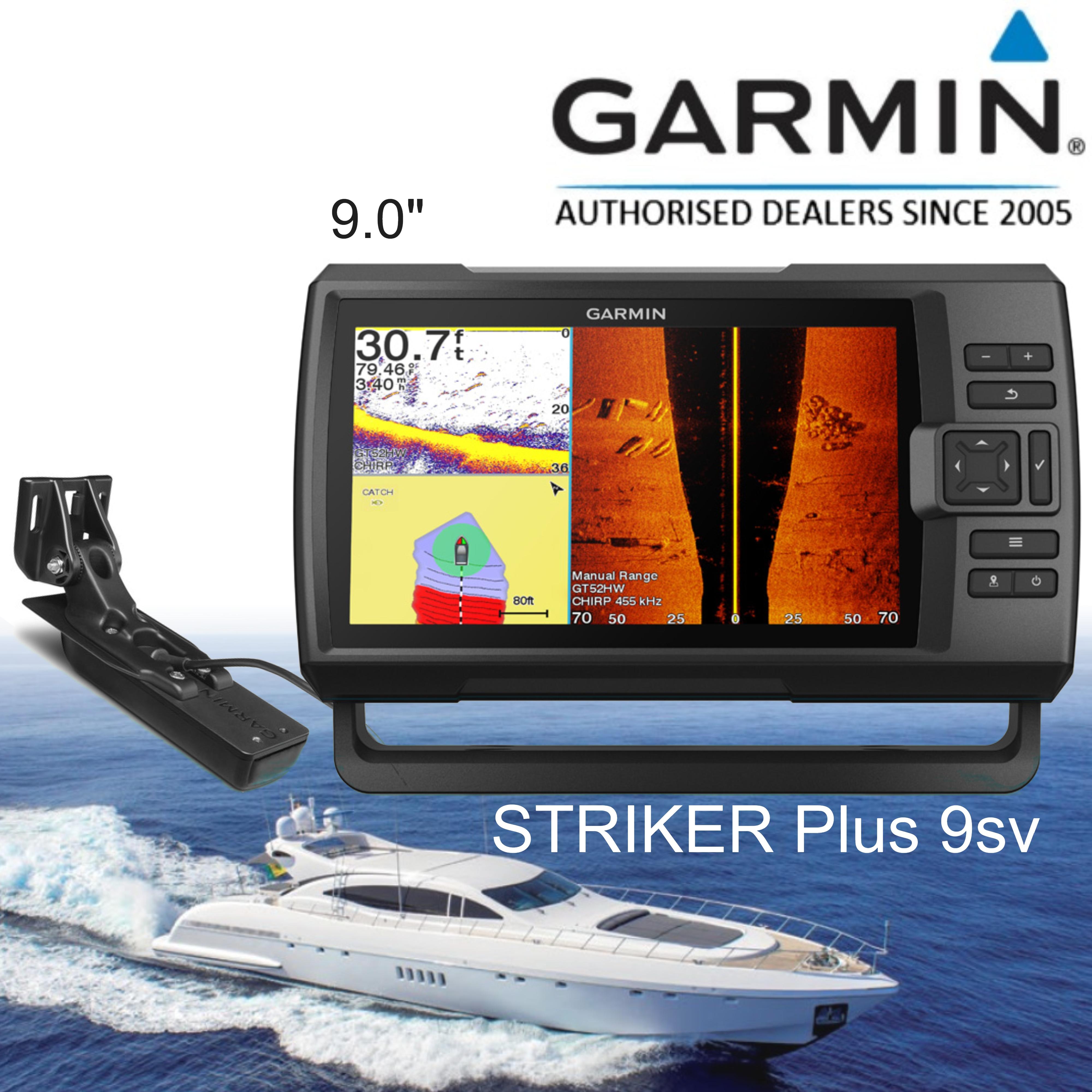 "Garmin STRIKER Plus 9sv & GT52HW-TM Transom Transducer | 9"" GPS Fish Finder | For Boat & Marine"