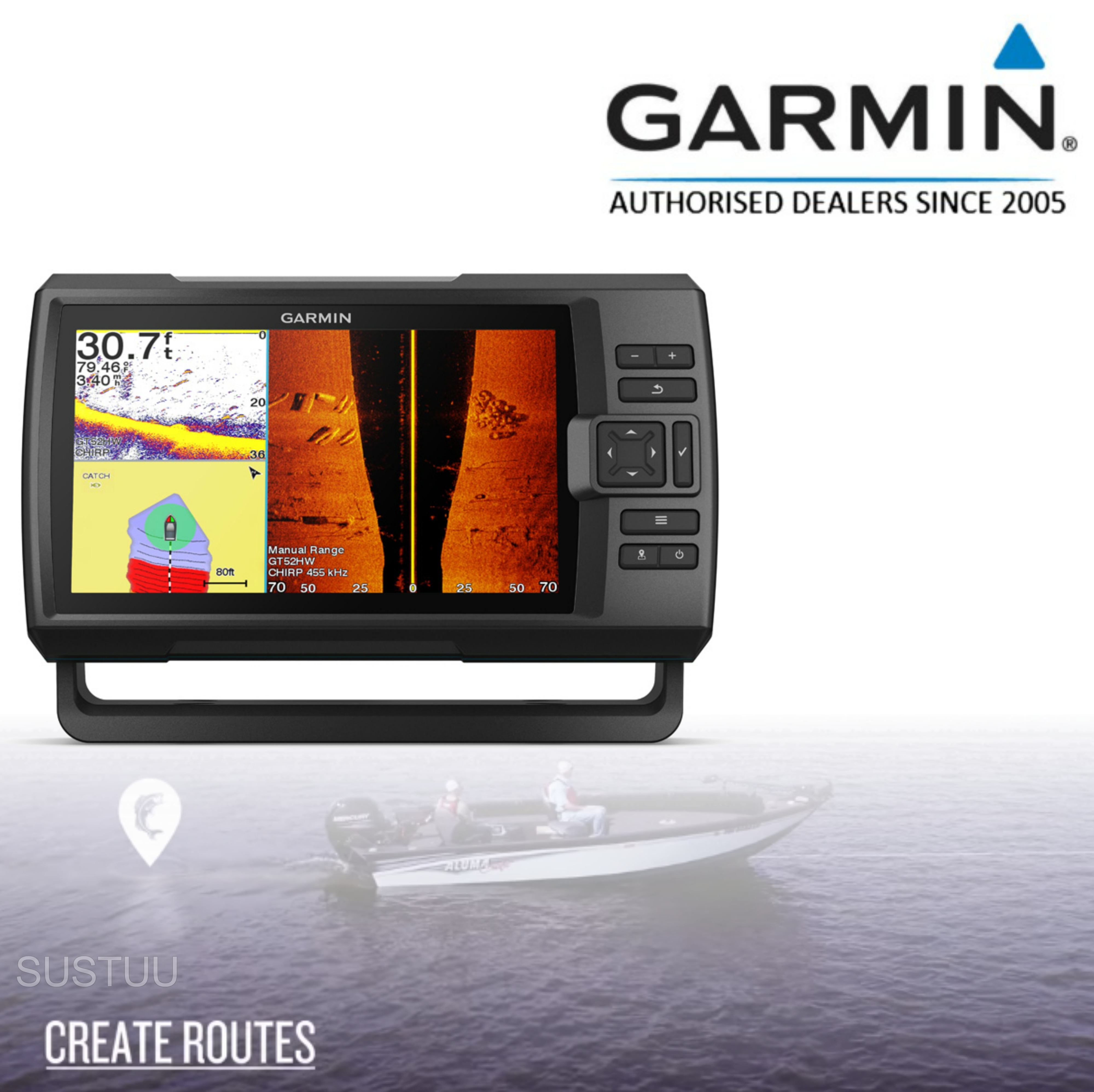 "Garmin STRIKER Plus 9sv- 9"" & GT52HW-TM Transom Transducer|GPS Fish Finder|Boat & Marine Use"