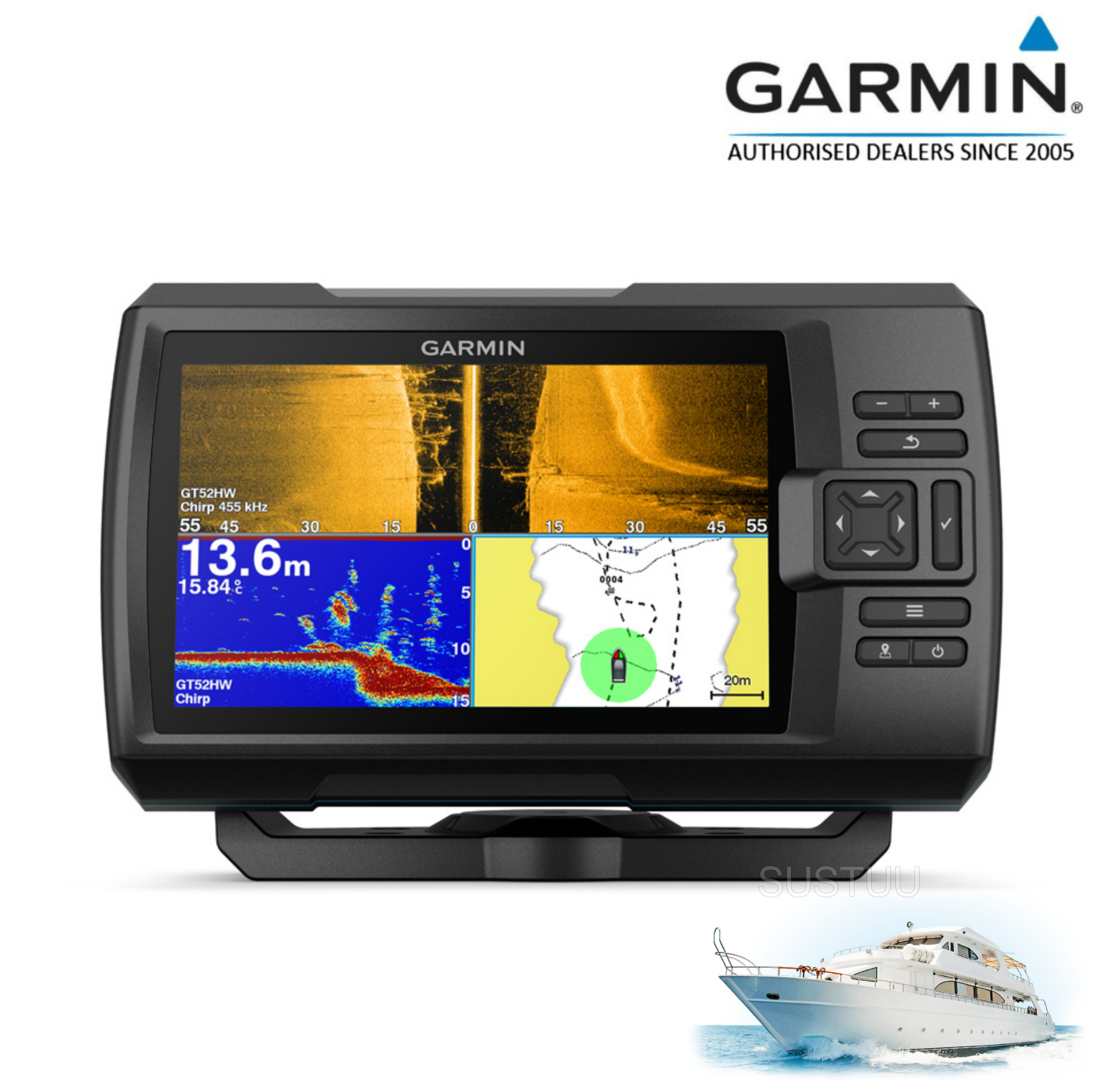 Garmin STRIKER Plus 7' Display|Transom Transducer|IPX7|GPS|Fish Finder|In Marine