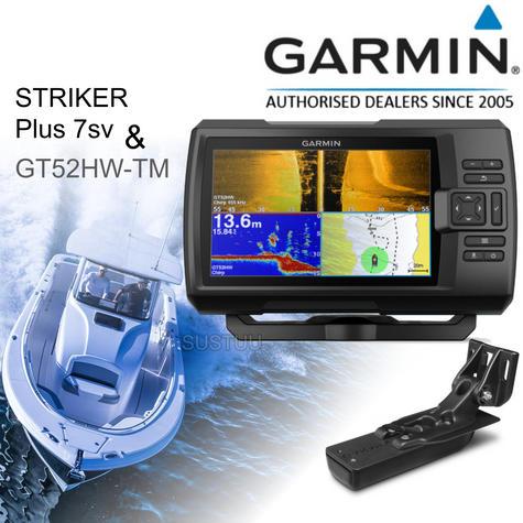 "Garmin STRIKER Plus 7sv - 7"" & Transom Transducer|GPS Fish Finder|IPX7|Use for Marine & Boats Thumbnail 1"