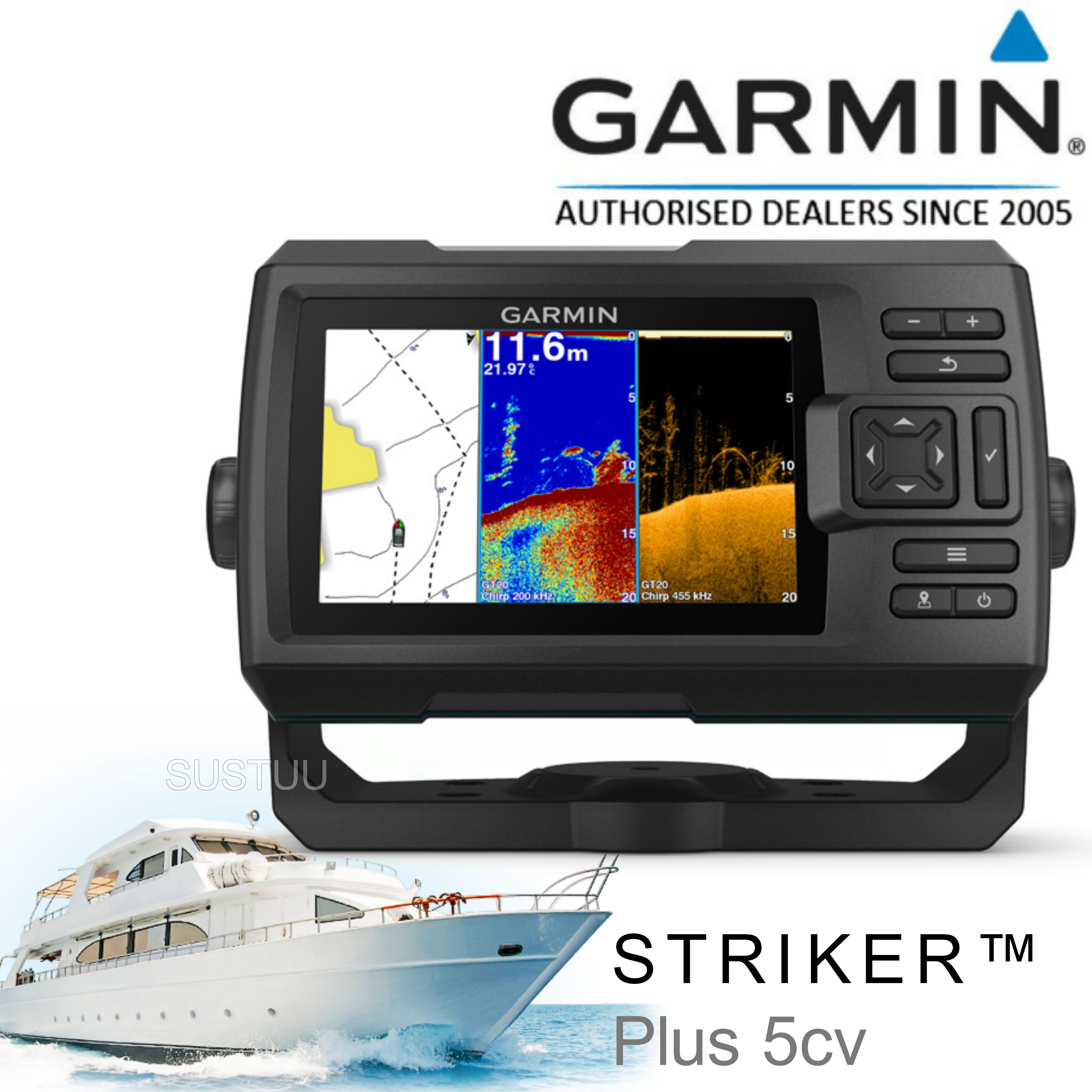 Garmin STRIKER Plus 5cv -5'' Display|Fish Finder|CHIRP sonar|GPS|ClearVü|IPX7|For Marine