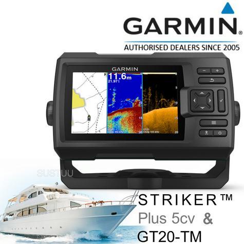 Garmin STRIKER Plus 5cv & GT20TM Transom Transducer|Fish Finder|GPS|IPX7|In Marine Thumbnail 1