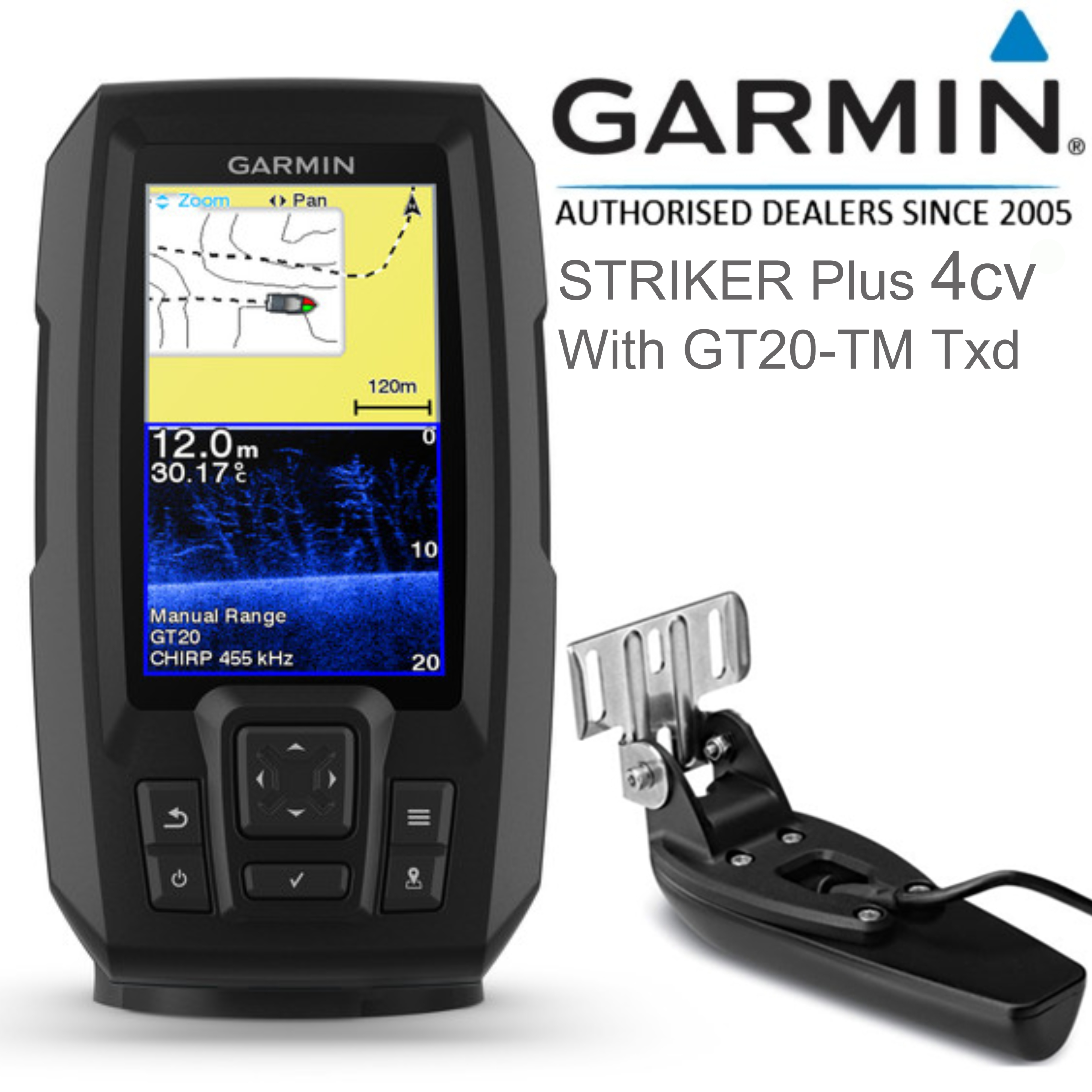 Garmin STRIKER Plus 4cv & GT20-TM Transom Transducer | GPS Fish Finder | IPX7 | For Marine