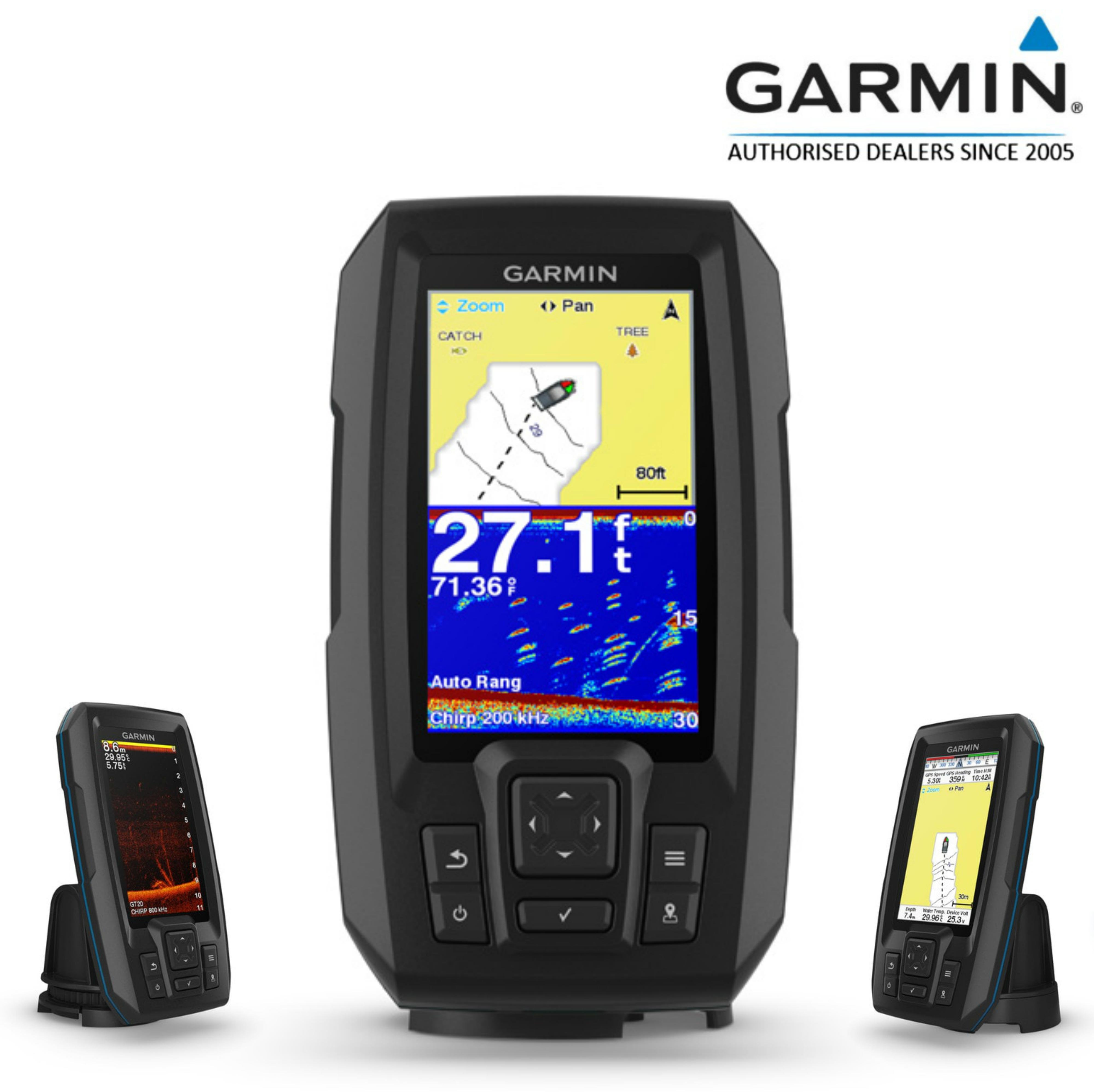 Garmin STRIKER Plus 4cv|GT20-TM Transom Transducer|GPS|IPX7|Fish Finder|In Marine