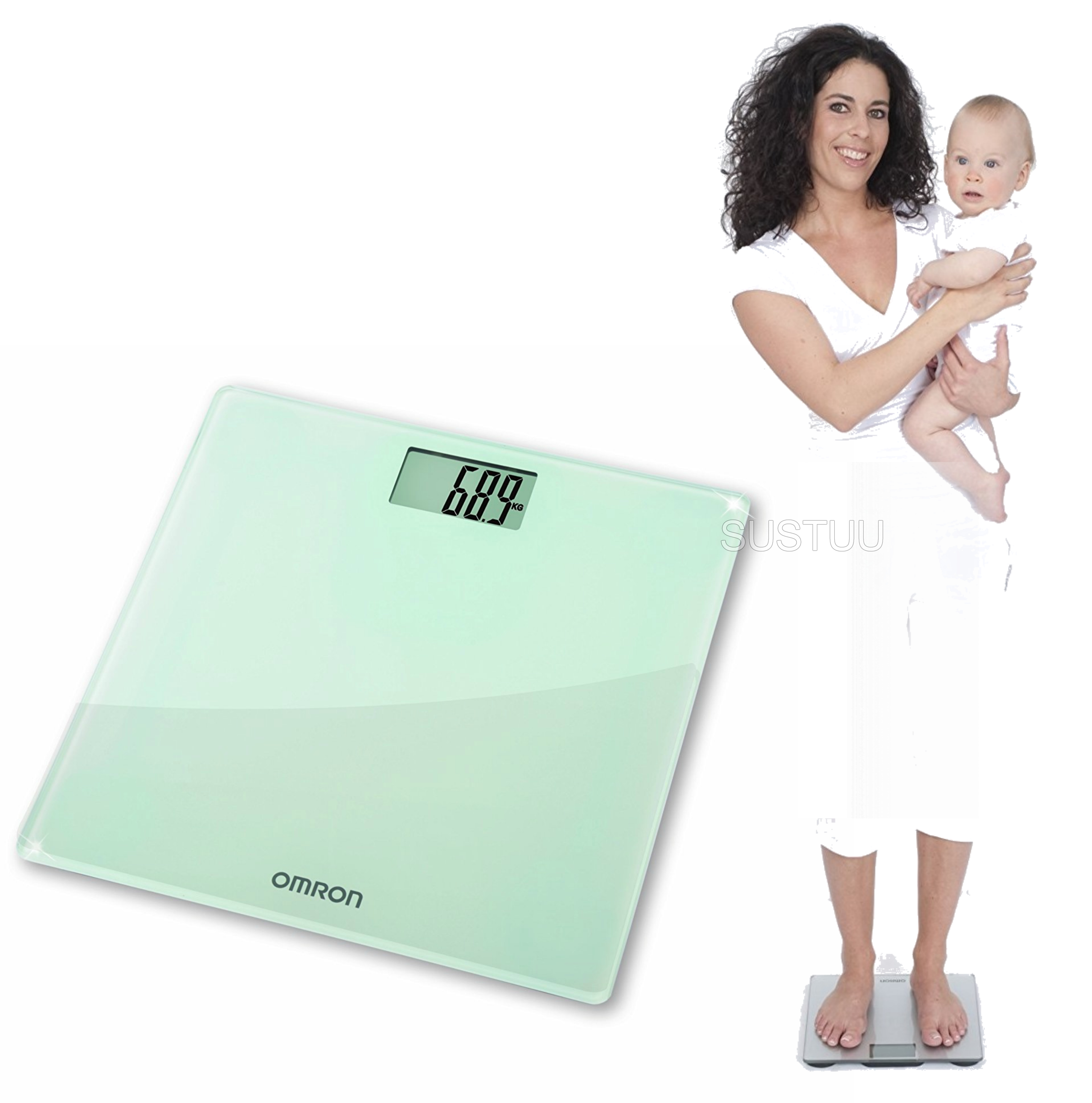 Omron HN286 Digital Slim Bathroom Scale?Personal Body Weight?LCD Display?Silver