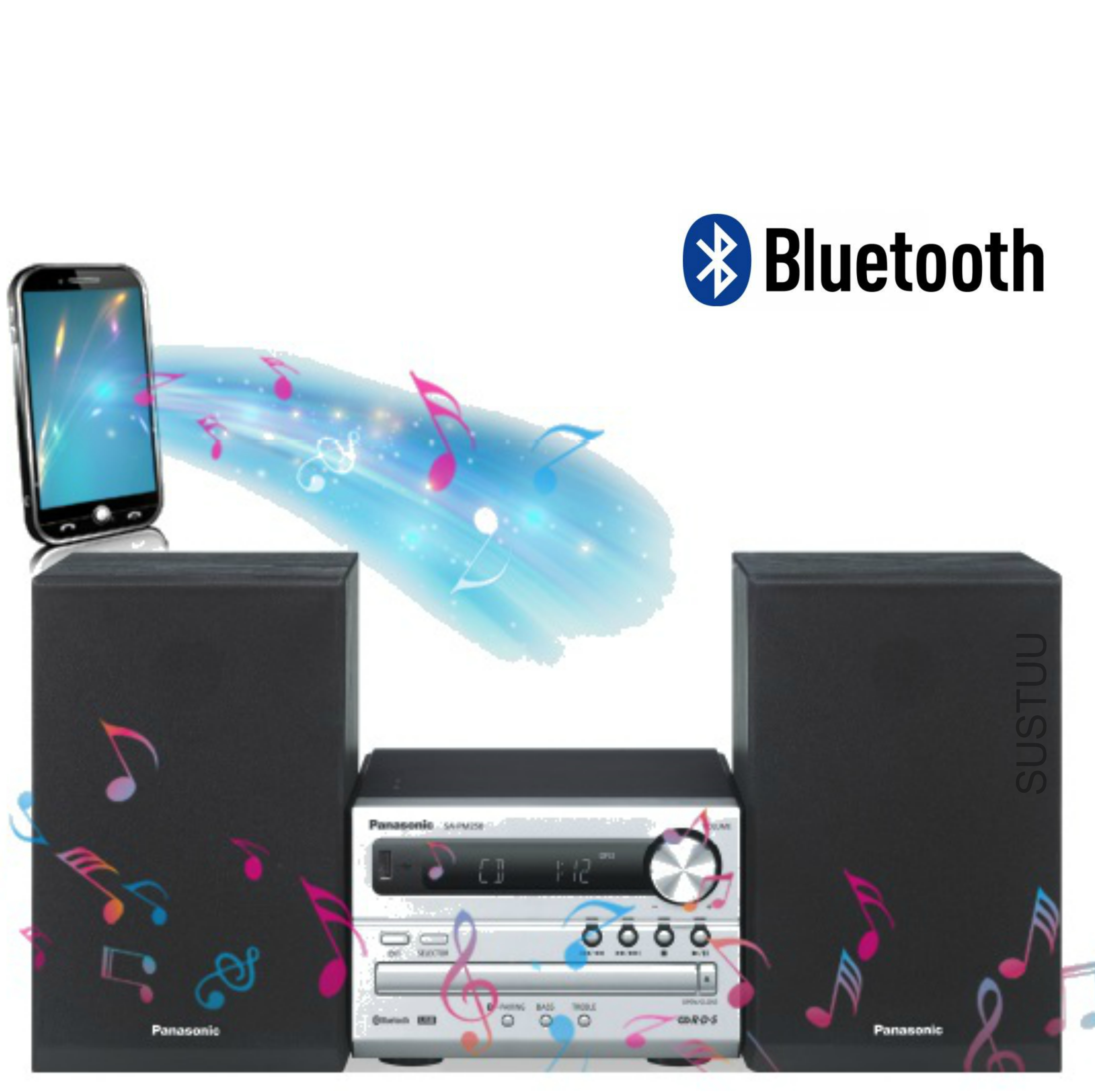 Panasonic New SCPM250EBS Bluetooth Micro Hi-FI Wireless Home Music System-Silver