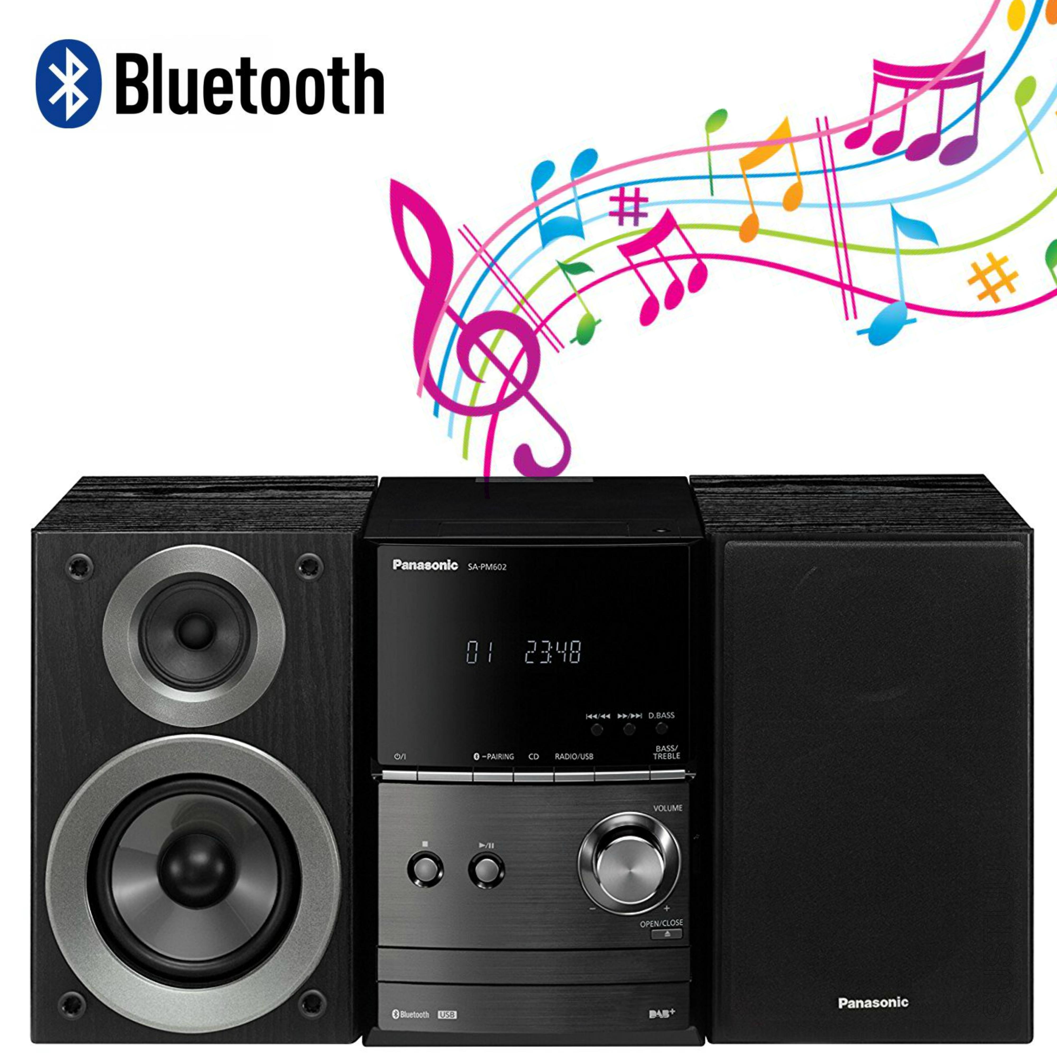Panasonic SCPM602EBK Bluetooth Micro Hi-FI System-CD/MP3/USB/FM/DAB Radio-Black