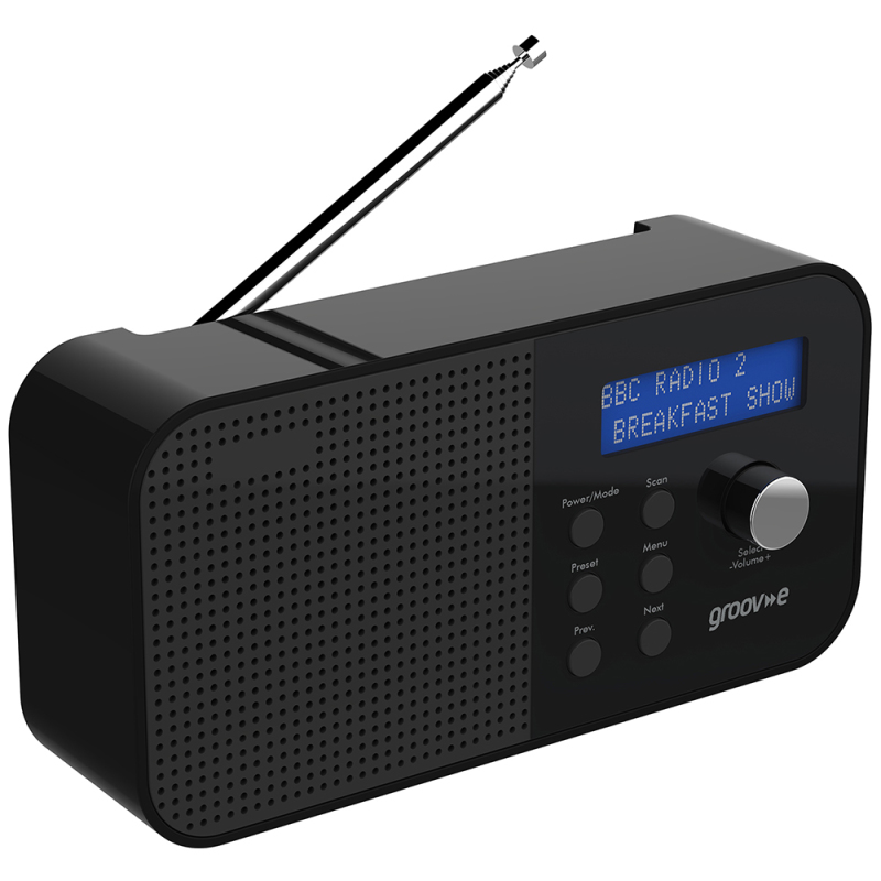 Groov-e GVDR04BK New Venice Portable DAB/FM Digital Radio|Dual Alarm|LCD|Black|