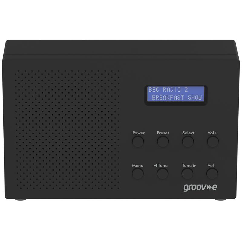 Groov-e GVDR03BK Paris Portable DAB/FM Digital Lightweight Alarm Radio-Black