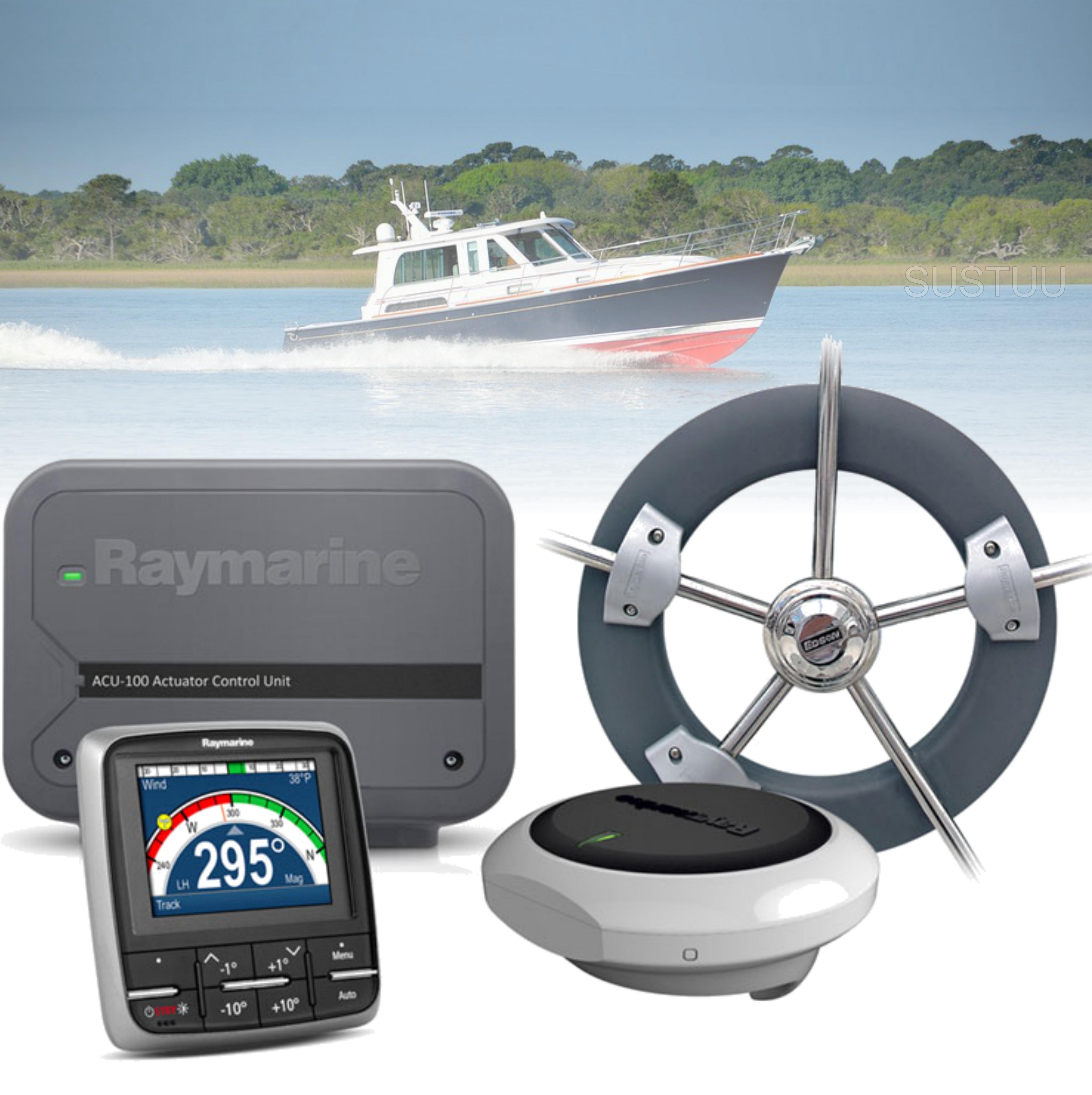 Raymarine Evolution Wheel Pilot|p70 Control Head|ACU-100 & Wheel Drive|In Marine