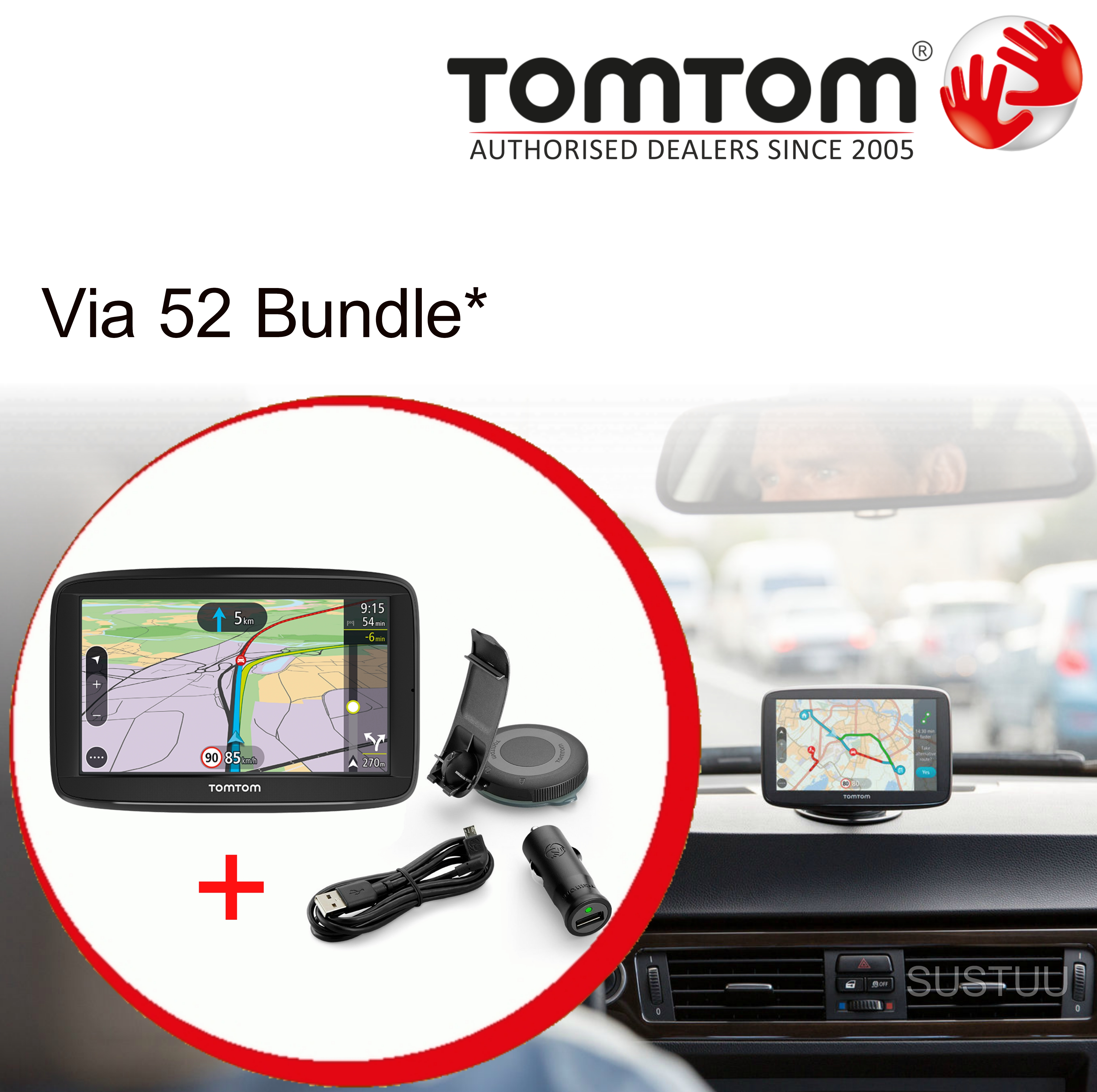 tomtom via 52 5 gps satnav bluetooth free lifetime uk. Black Bedroom Furniture Sets. Home Design Ideas