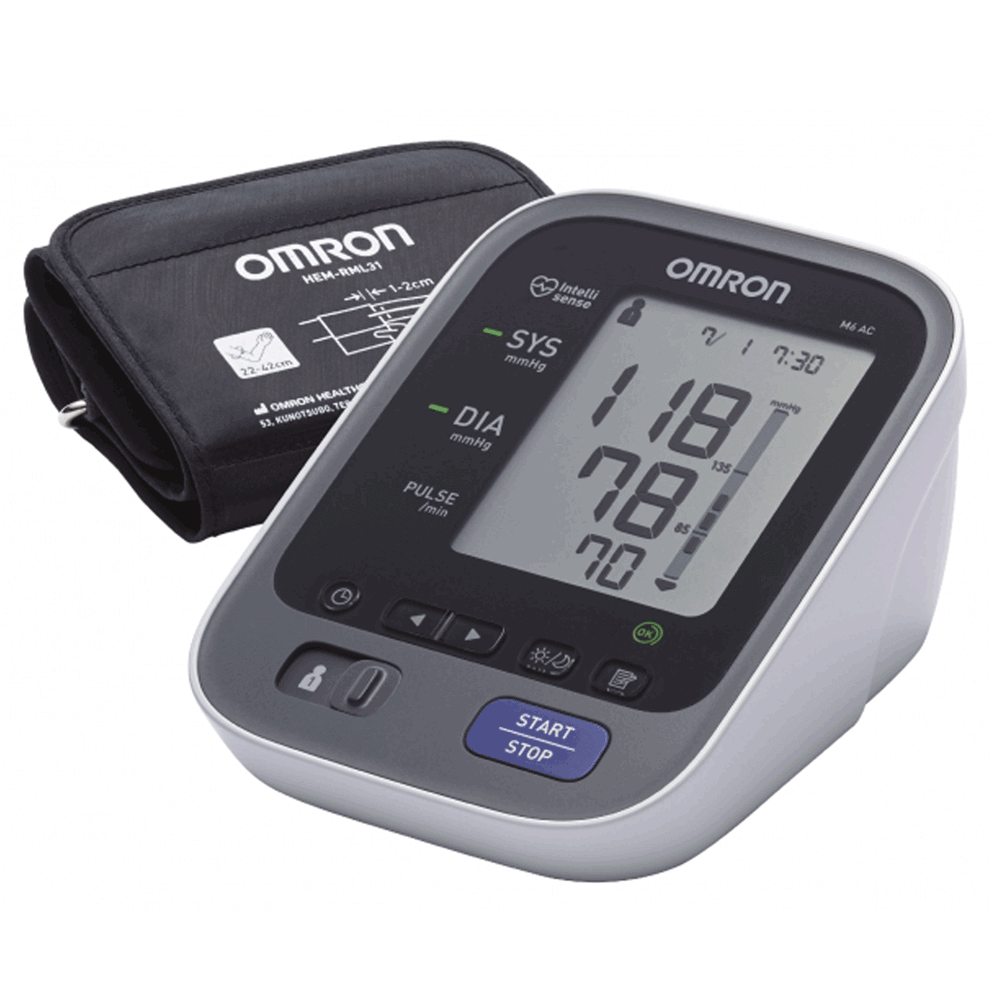 Omron M6 LED Blood Pressure Monitor with AC Adapter And Eay Cuff  (HEM-7322-ME)