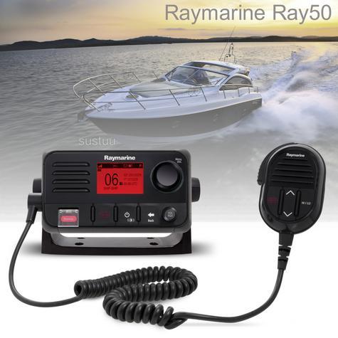 Raymarine E70243 Ray50 Compact Marine VHF Radio 25W Class D DSC LCD Sleek-Black Thumbnail 1