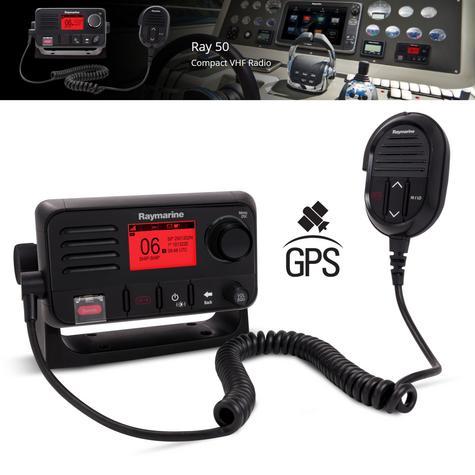 Raymarine E70243 Ray50 Compact Marine VHF Radio 25W Class D DSC LCD Sleek-Black Thumbnail 2