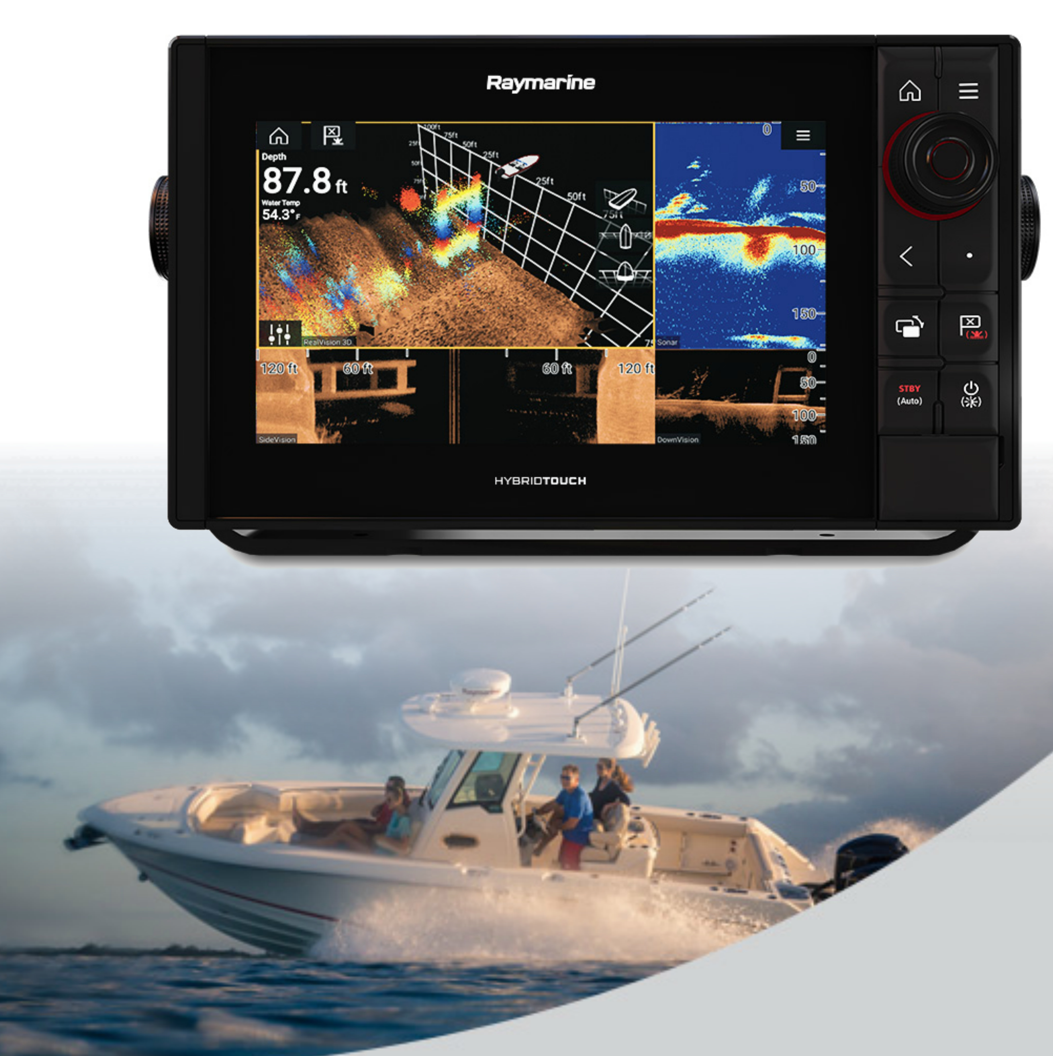 "Raymarine-E7037100NSD|Axiom 9 Pro-RVX|9""MFD 1kW Sonar|DV SC RV 3D Marine Sonar"