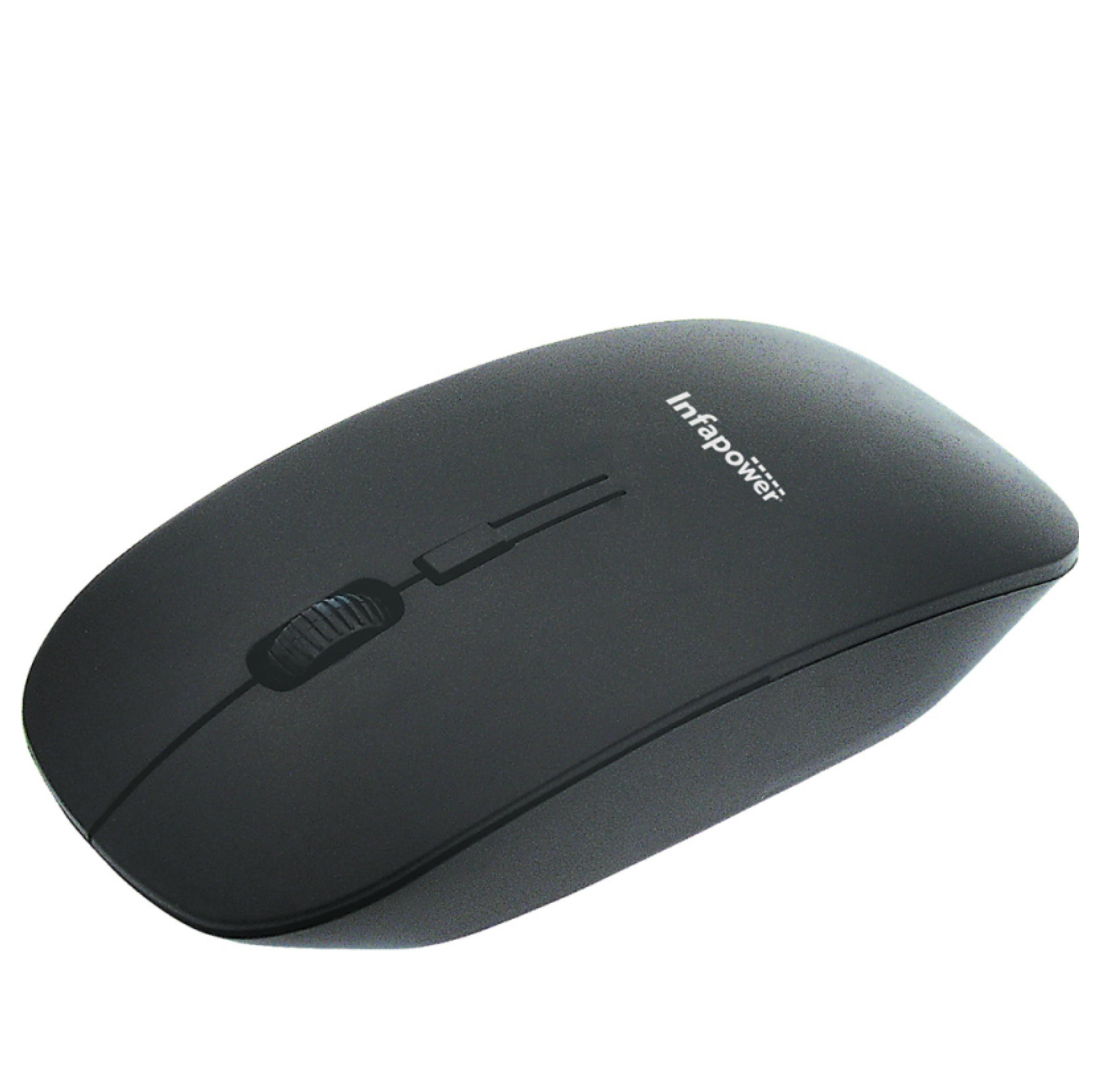 Infapower X205 Wireless Optical Mouse|PC/MAC|2 Button Design|Scroll Wheel|Black|