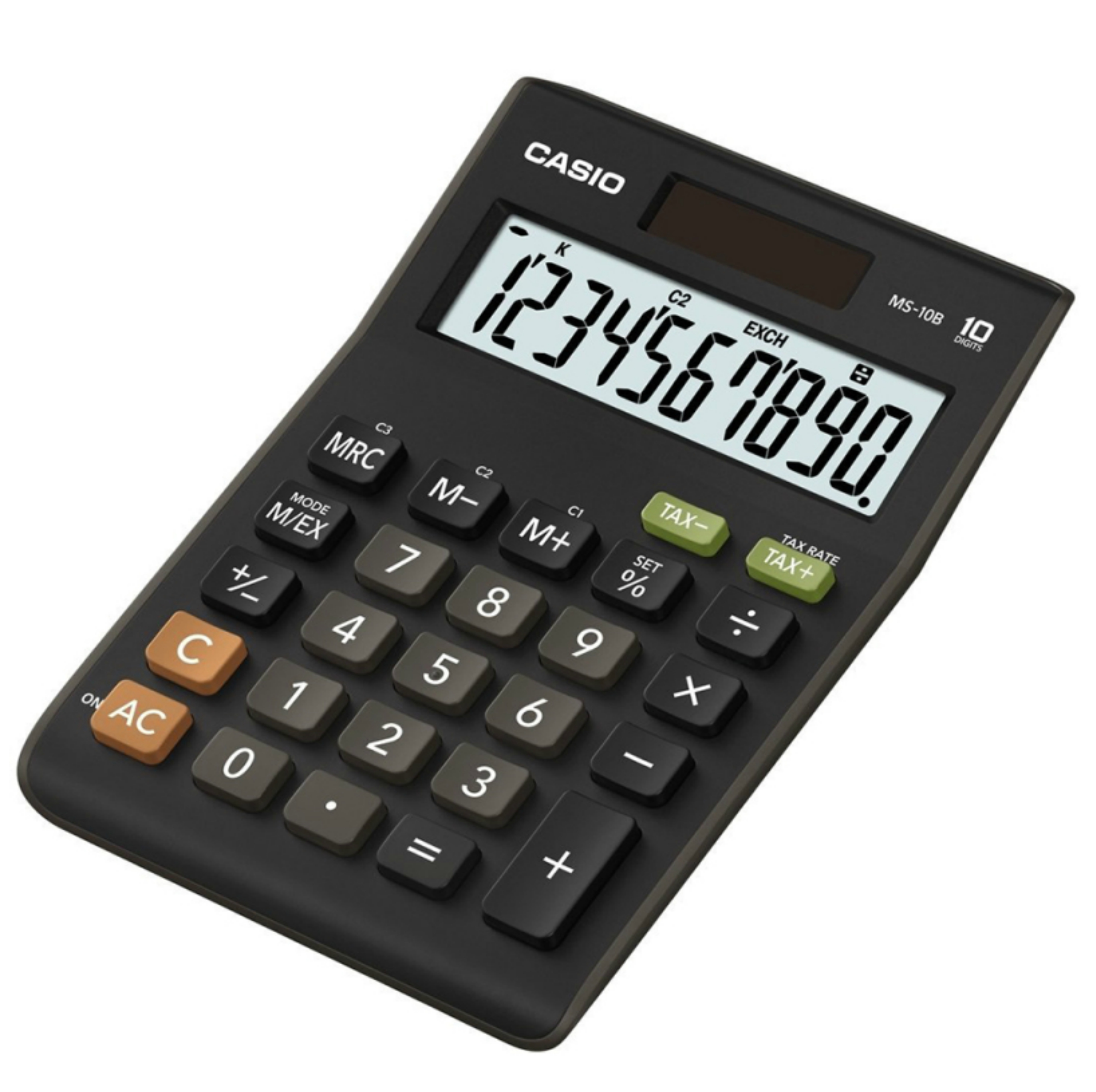Casio MS10B-S Calculator|D10 Digit|Dual Powerd|Large Display|Tax Function|Black|