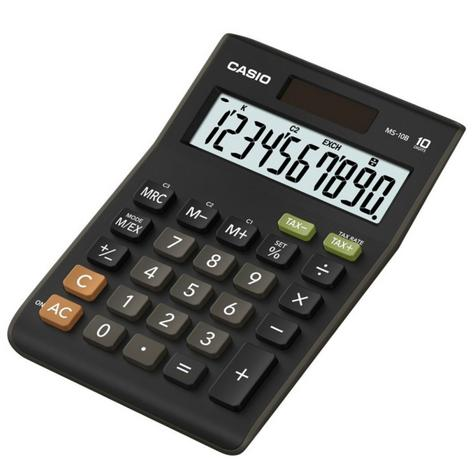 Casio MS10B-S Calculator|D10 Digit|Dual Powerd|Large Display|Tax Function|Black| Thumbnail 1