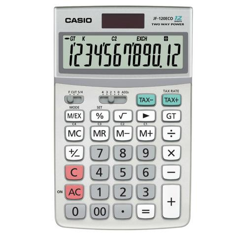 Casio New JF120ECO-W ECO Desktop Calculator|Dual Powerd|12 Digit|Multy Function| Thumbnail 1