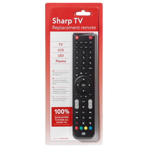 One For All URC1921 Multi Features Replacement Sharp TV Remote Control-Black Thumbnail 3