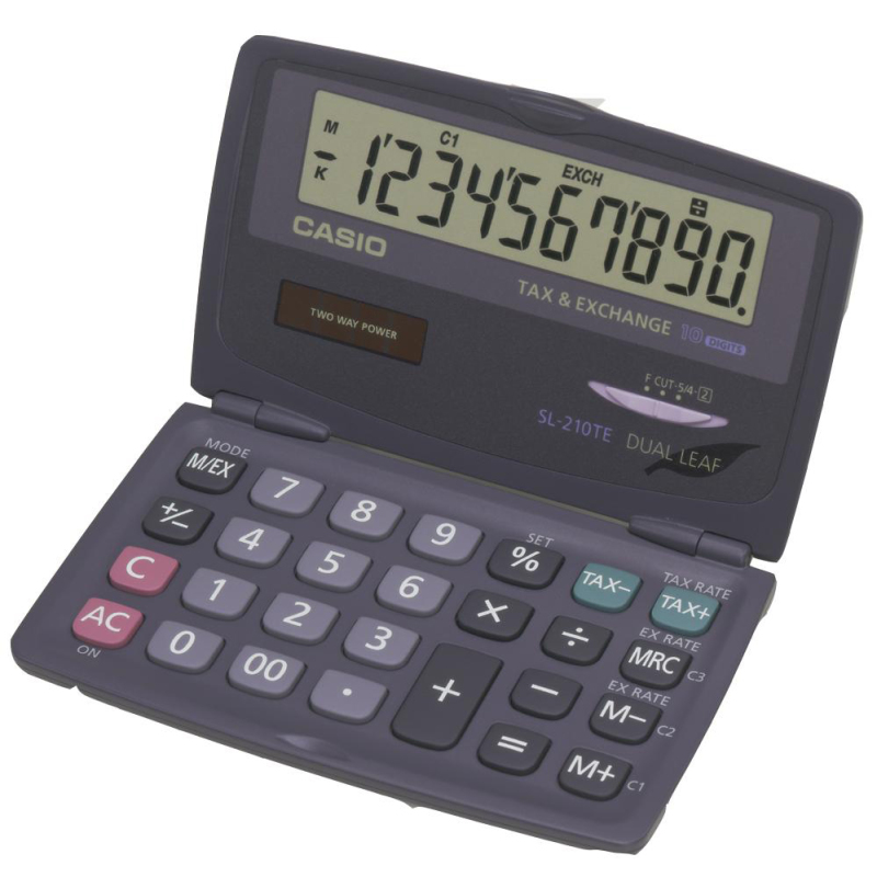 Casio SL210TE-SA 10 Digit Folding Pocket Calculator|Dual Powered|Tax Function|