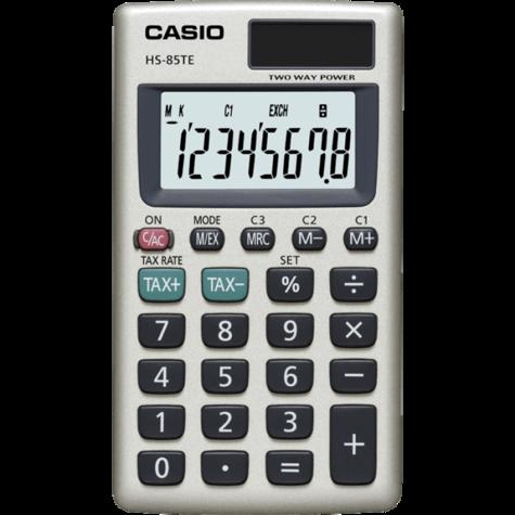 Casio HS85TE-SB Pocket Calculator|8 Digit Display|Metal Faceplate|Tax Function| Thumbnail 1