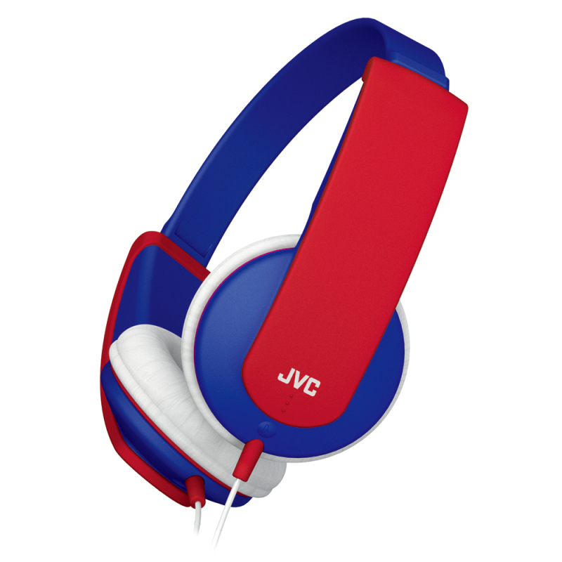 JVC HAKD5A Tiny Stereo Headphones for Kids|Lightweight|Soft Ear Pads|Blue/Red|
