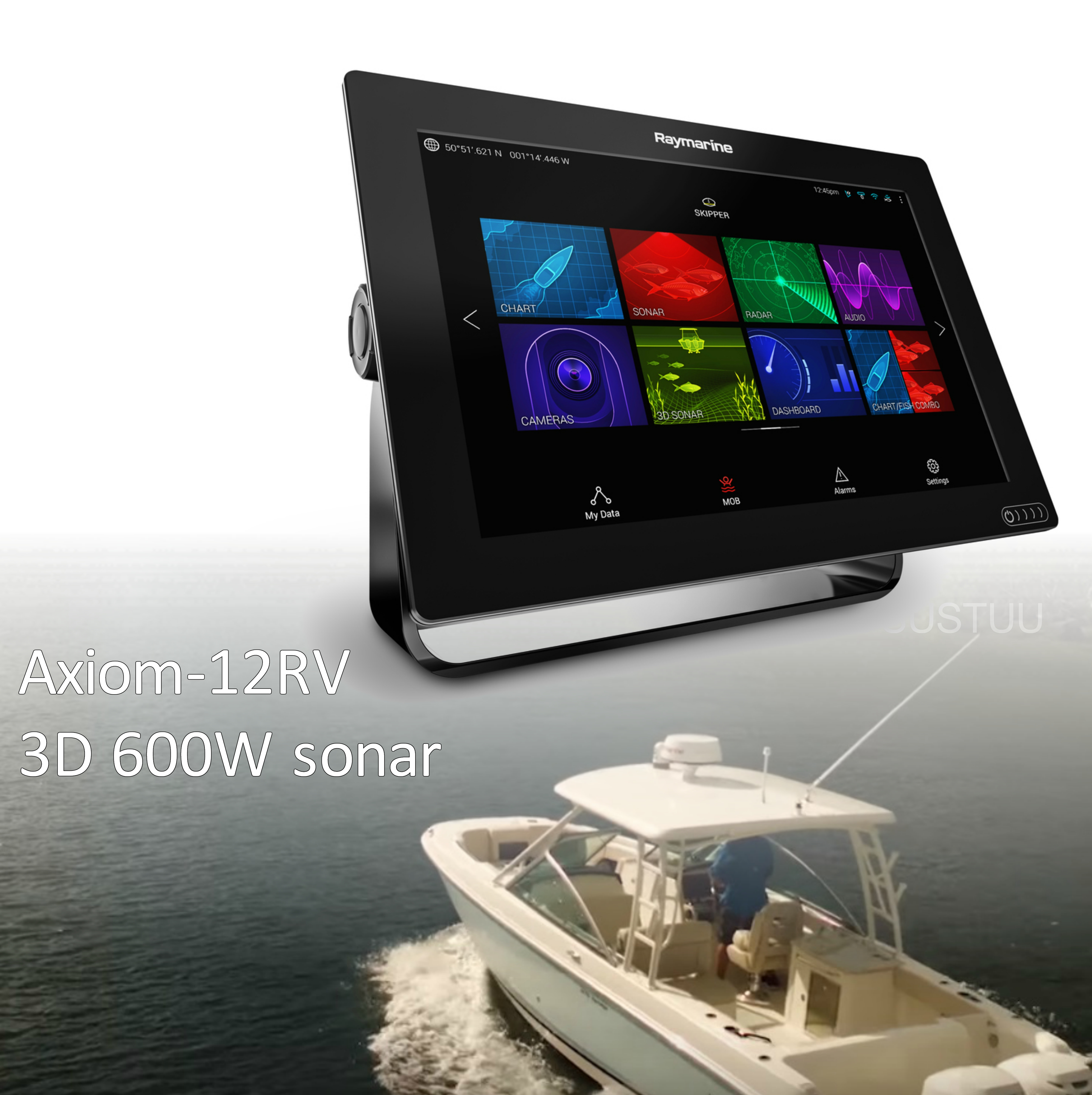 "Raymarine-E7036900NSD Axiom 12RV 12"" MFD Realvision 3D 600W Sonar Nav+ Chart Marine"