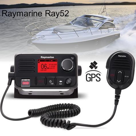 Raymarine E70345|Ray52 Compact Marine VHF LCD Radio|GPS|Class-D|DSC|Sleek-Black Look Thumbnail 1
