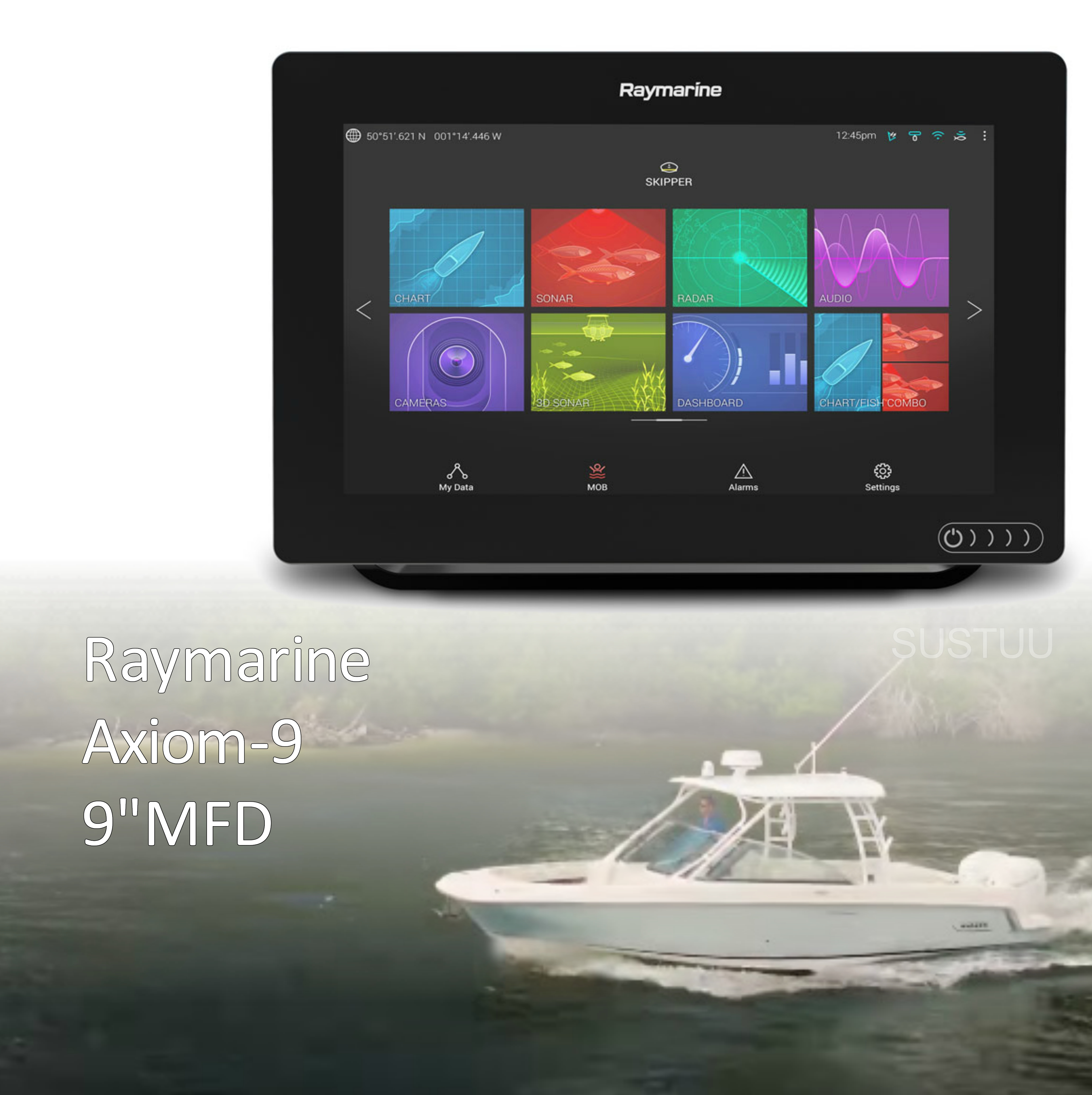 "Raymarine-E7036600NSD|Axiom-9|9"" MFD Display|Nav+ Small Chart|Marine Navigator"