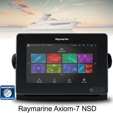 "Raymarine E7036300NSD|Axiom-7 MFD-7"" & Navionics + Chart|CHIRP DV/GPS/GLONASS|IPX6/7 Thumbnail 1"