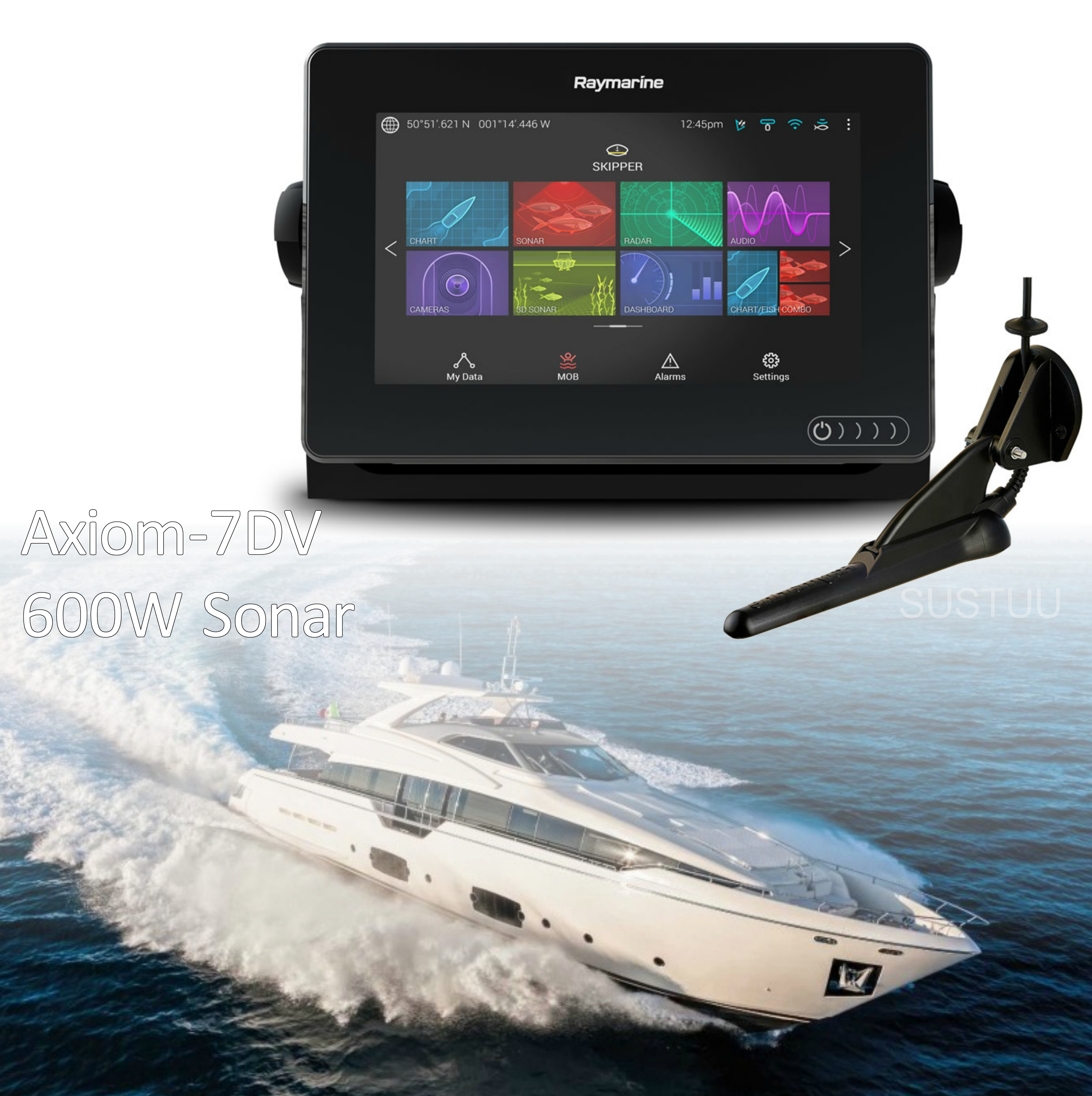 "Raymarine E7036402NSD|Axiom 7RV|7""MFD Display|3D 600W Sonar|Marine Nav+ Chart"