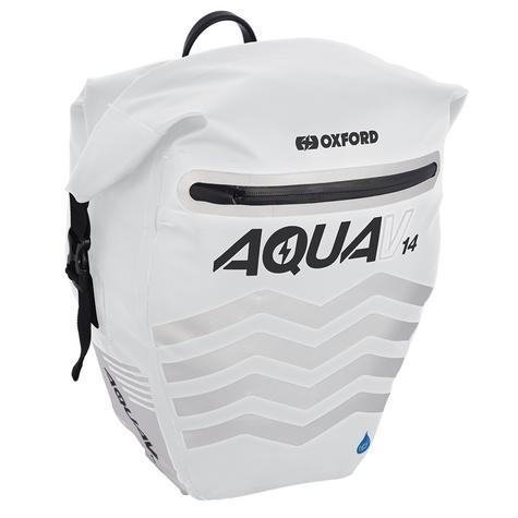 Oxford Aqua V14 Pannier Waterproof Reflective Cycling Bag 14L White Thumbnail 2