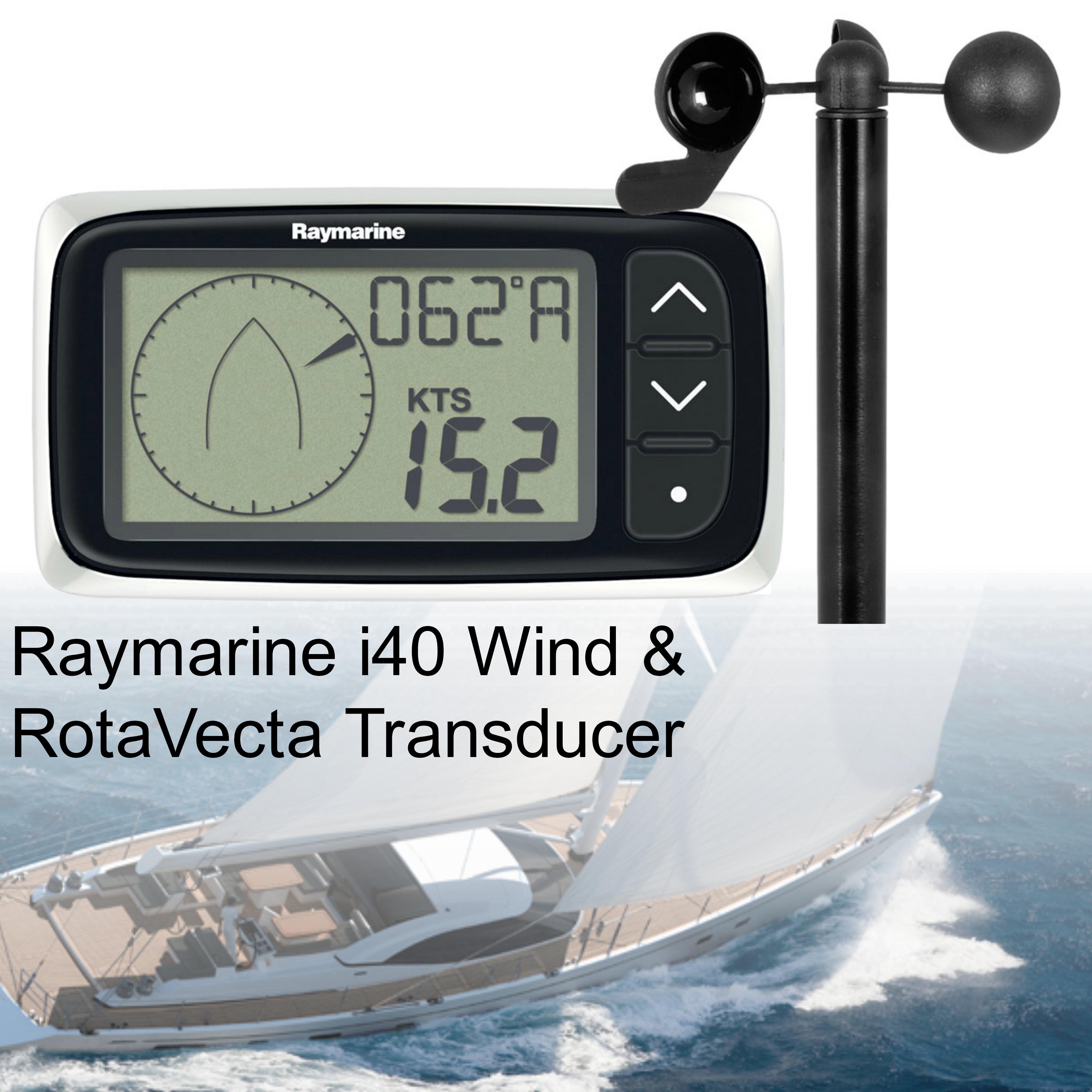 Raymarine E70144|i40 Wind Instument Display & Z195 RotaVecta Transducer Pack|For Yachts & Ribs