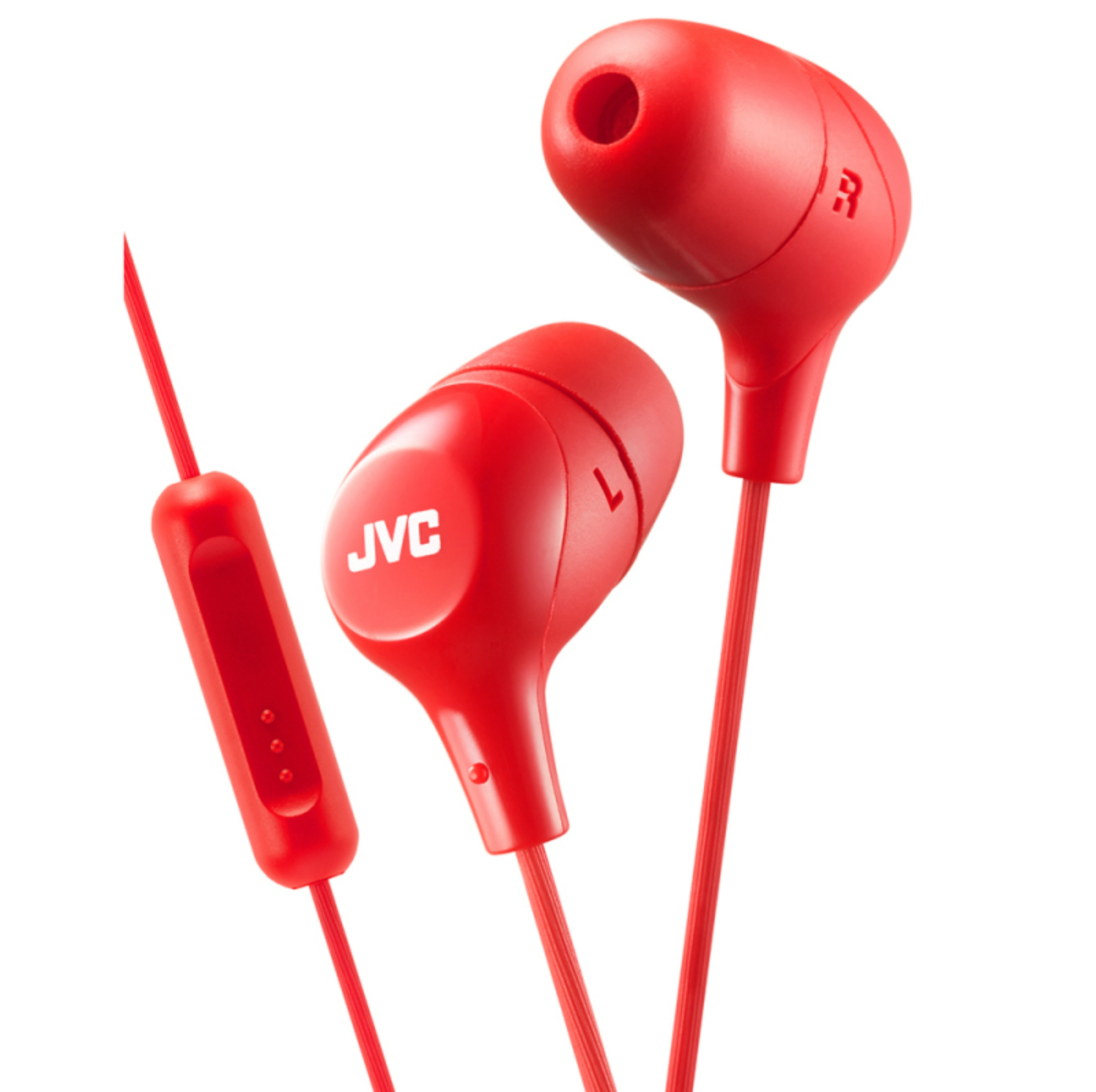 JVC HAFX38MR New Marshmallow Headphones|Custom Fit|In Ear|Remote & Mic|Red|