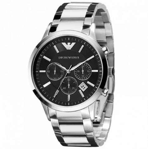 Emporio Armani Gianni Gent's Watch | Chronograph Black Dial | Stainless Strap?AR0389 Thumbnail 1